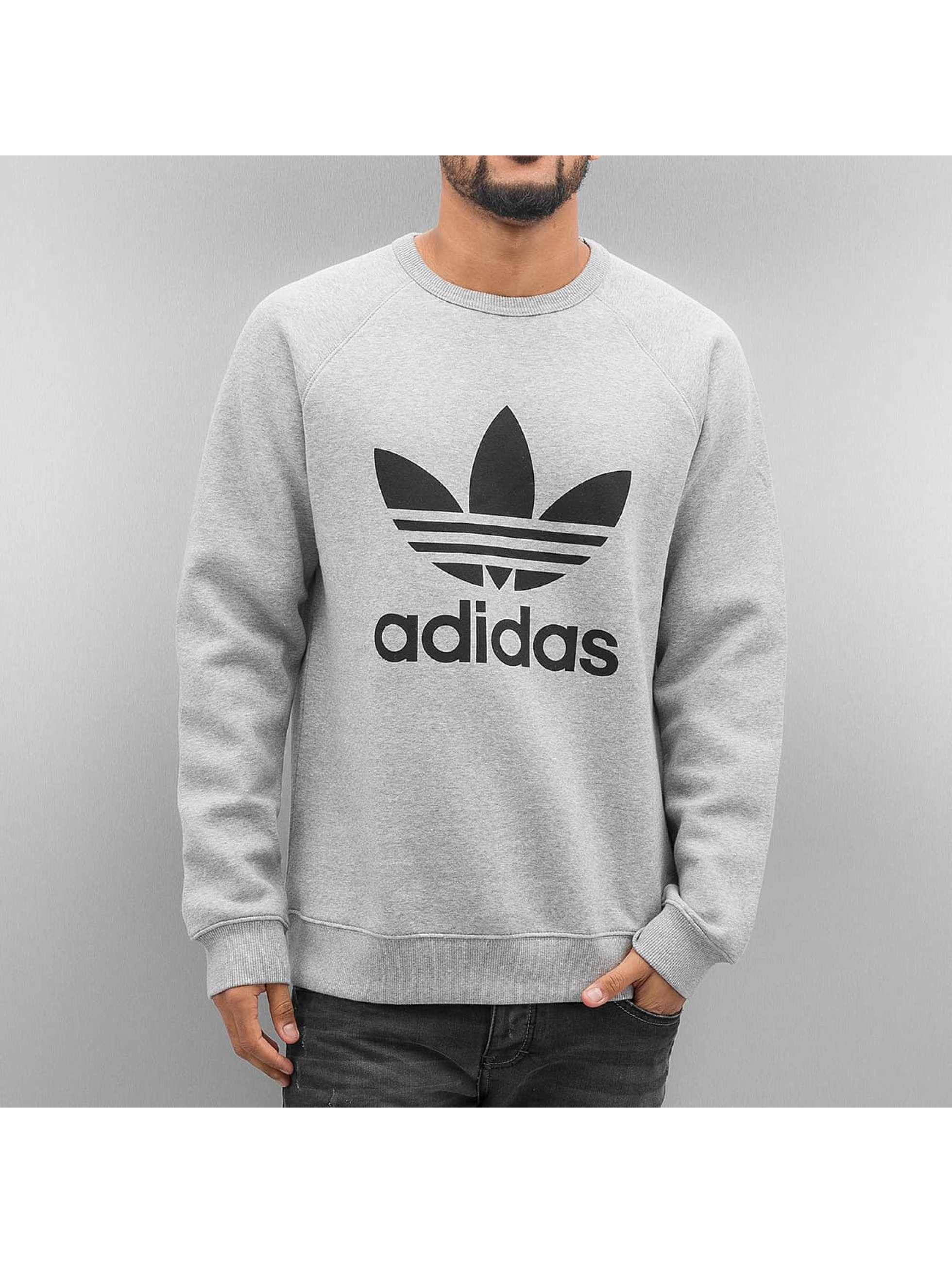 adidas Pulóvre Trefoil Fleece šedá