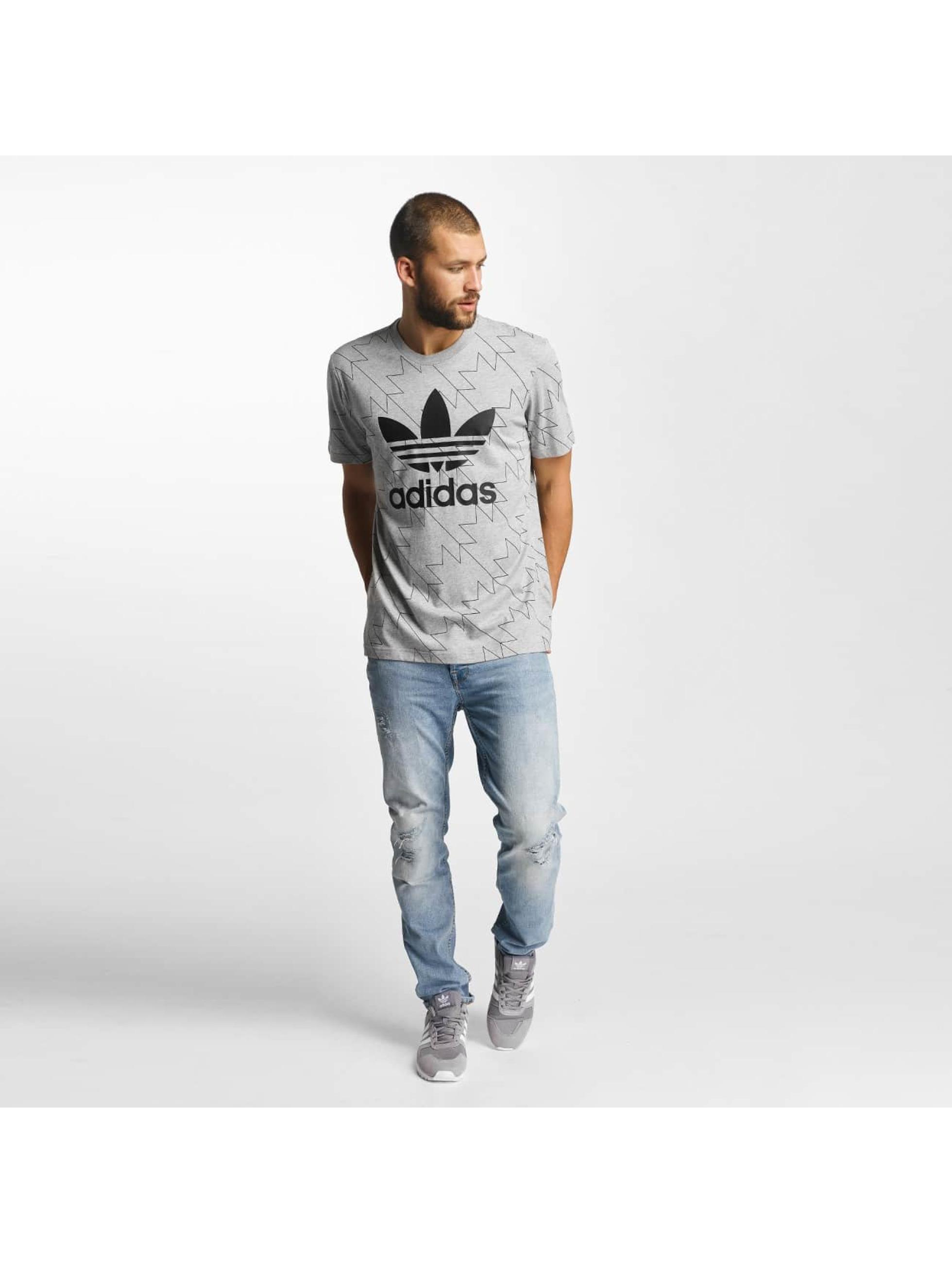 adidas T-Shirt Trefoil AOP gray