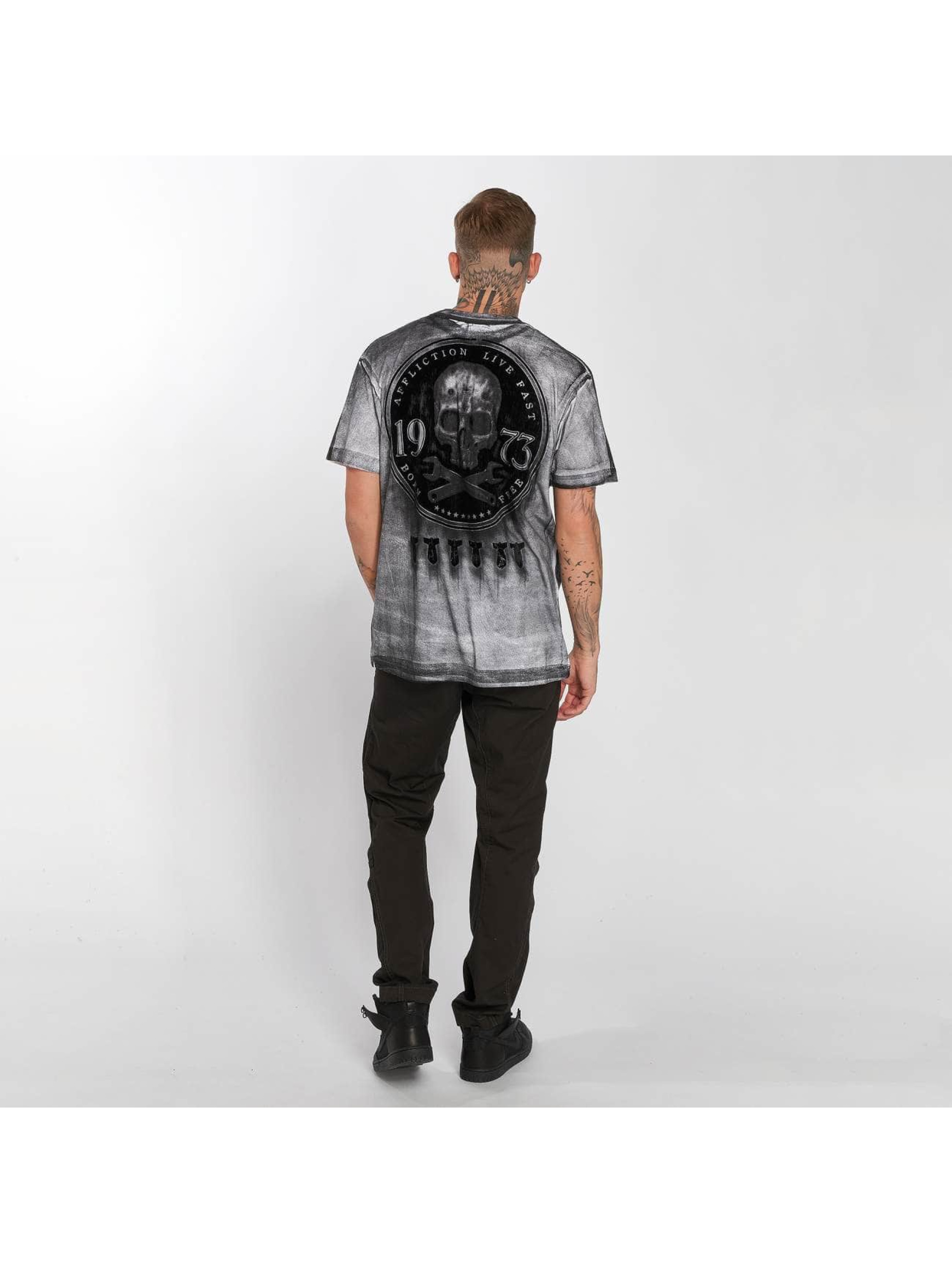 Affliction T-Shirt On The Tracks grau