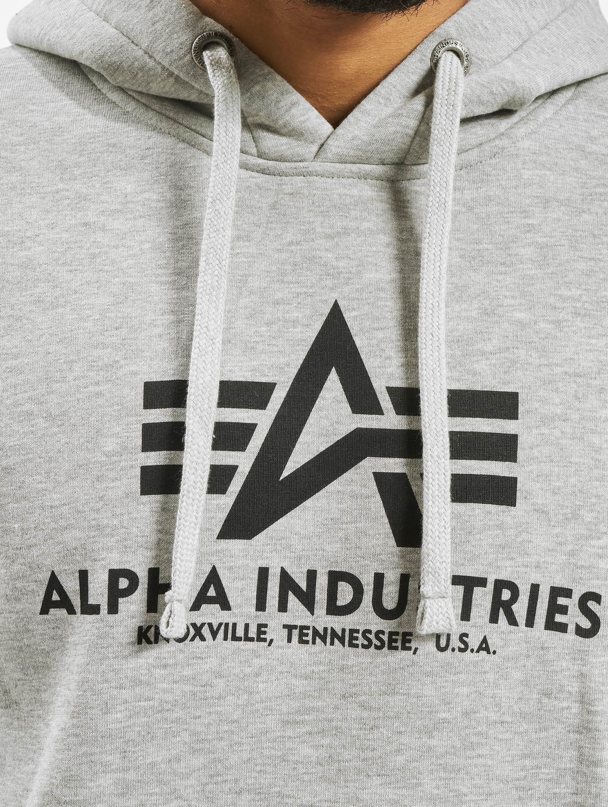 Alpha Industries Bluzy z kapturem Basic szary