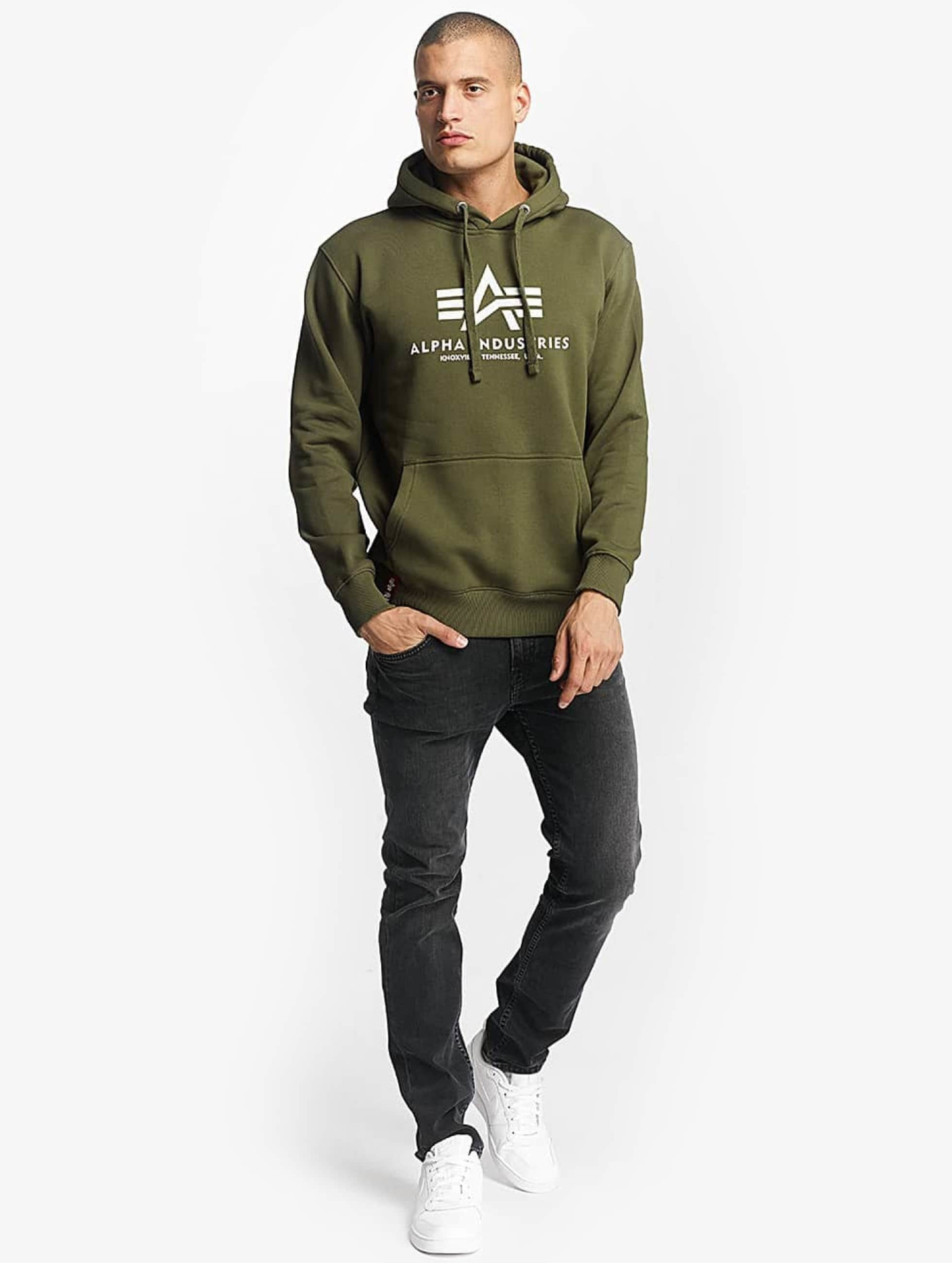 Alpha Industries Bluzy z kapturem Basic zielony