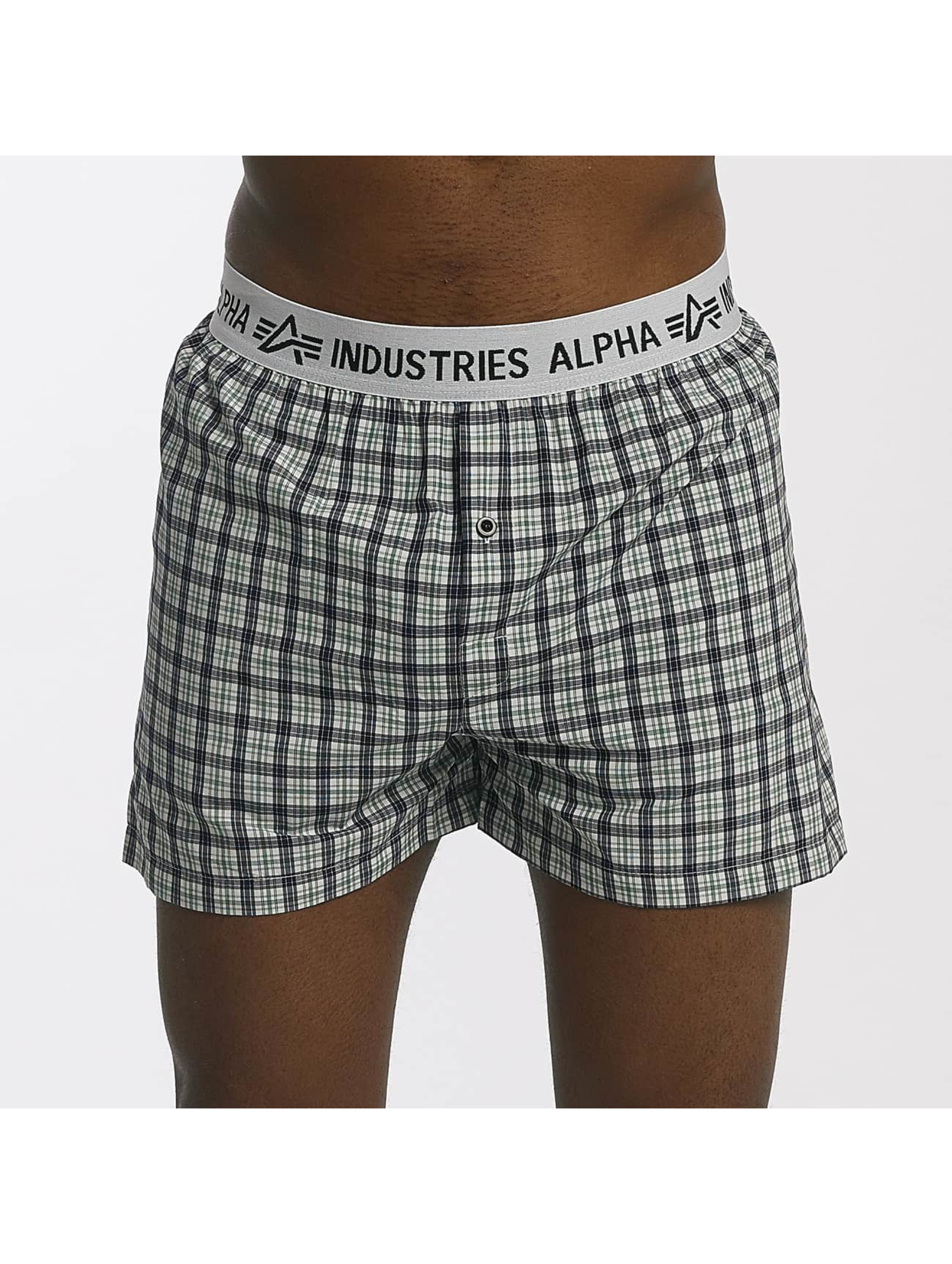 Alpha Industries Bokserki Checked zielony