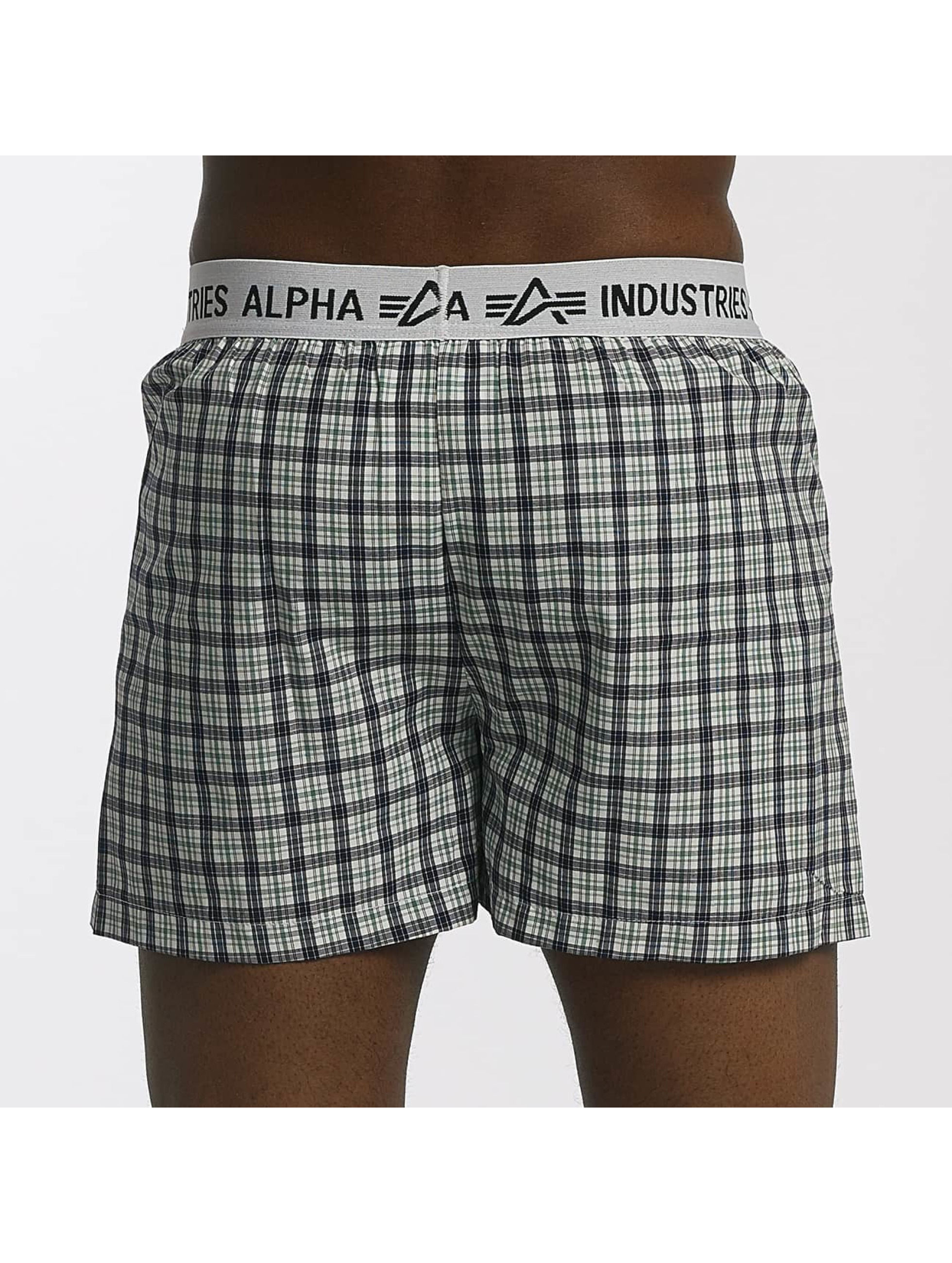 Alpha Industries Boksershorts Checked grøn