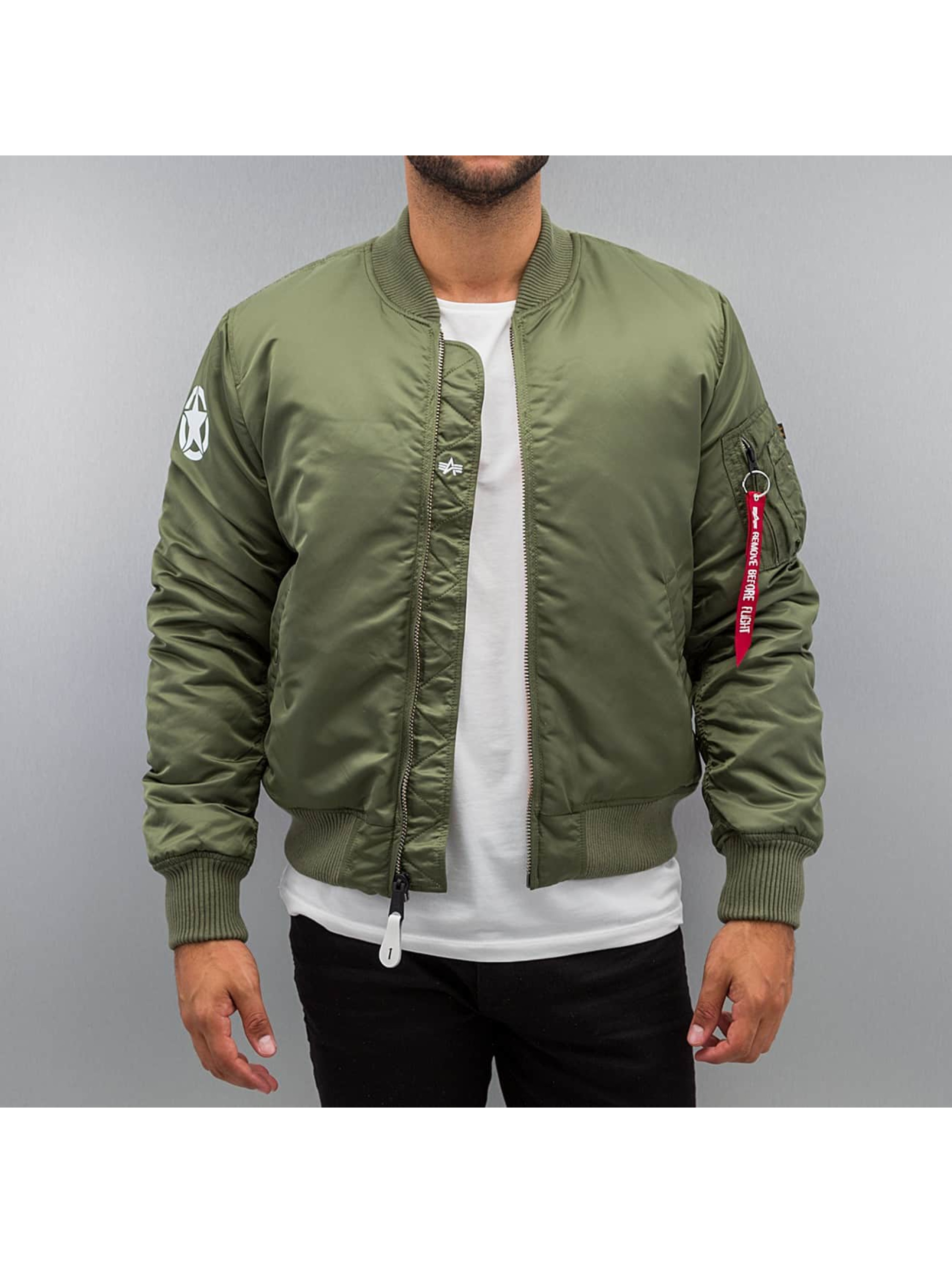 Alpha Industries jas / Bomberjack MA-1 VF Army in groen