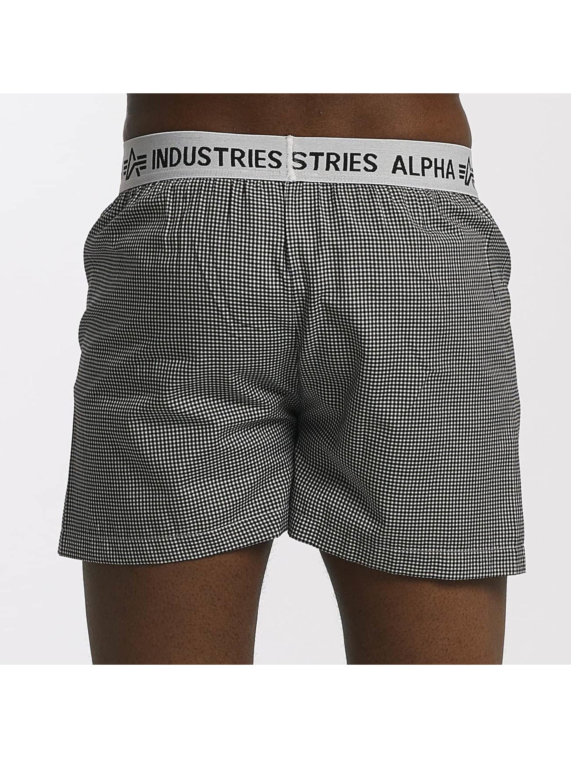 Alpha Industries Boxershorts Checked schwarz