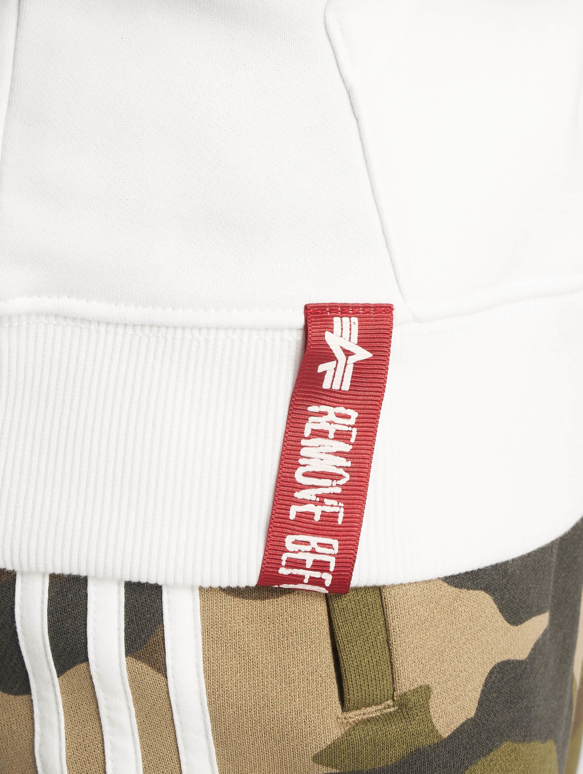 Alpha Industries Felpa con cappuccio Basic bianco