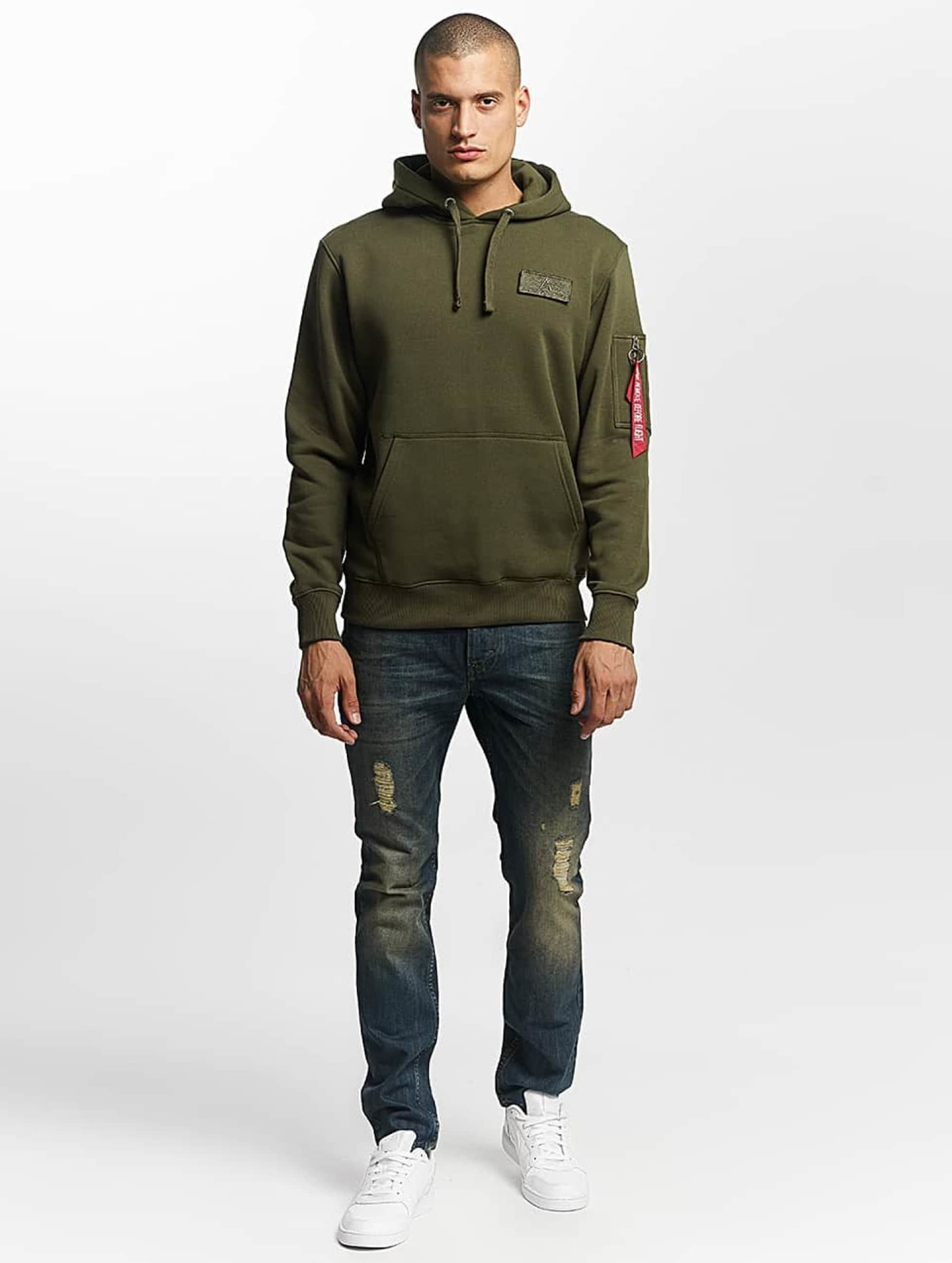 Alpha Industries Hupparit Red Stripe vihreä