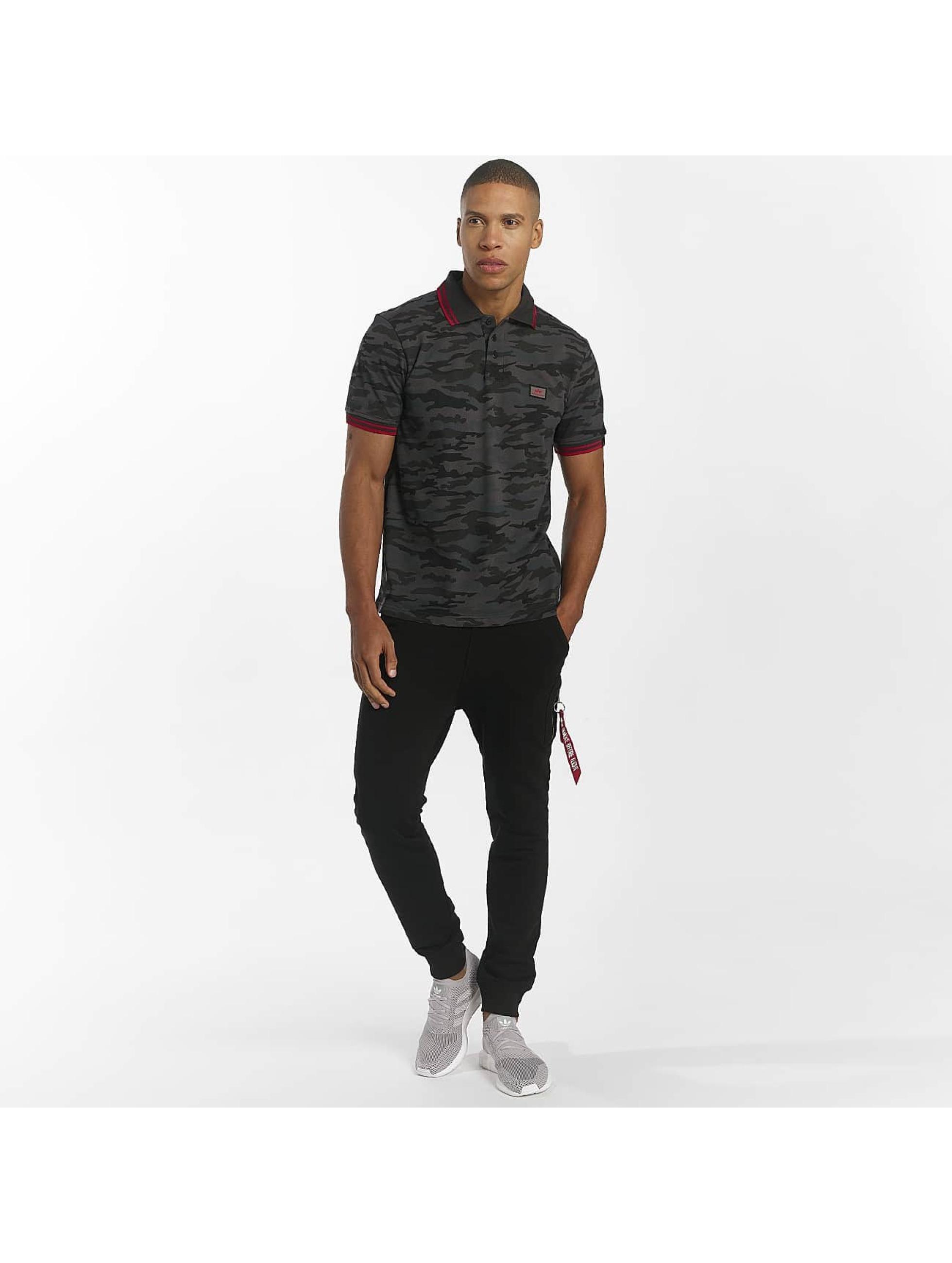 Alpha Industries Koszulki Polo Twin Stripe Camo czarny