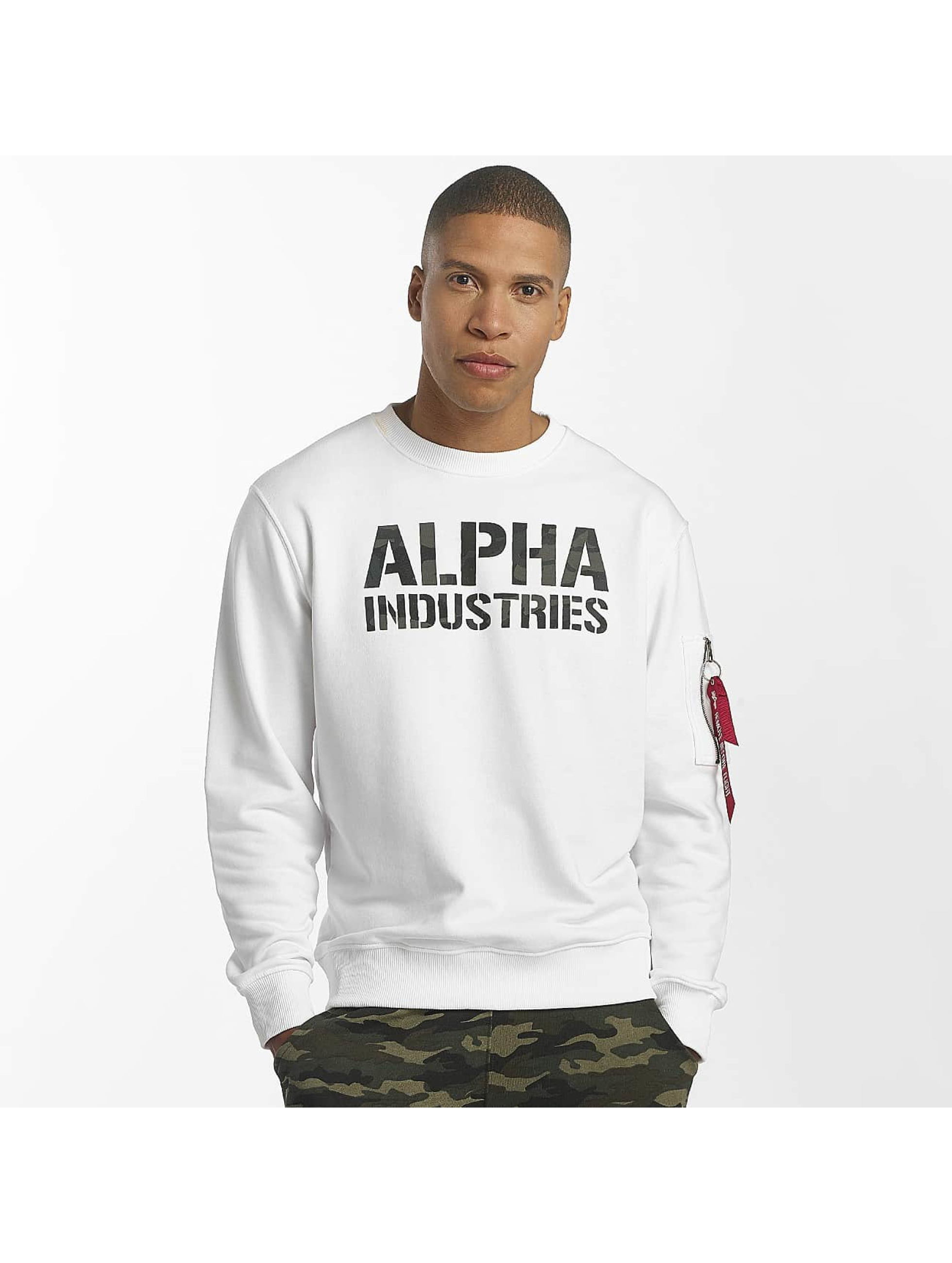 Alpha Industries Pulóvre Camo Print biela
