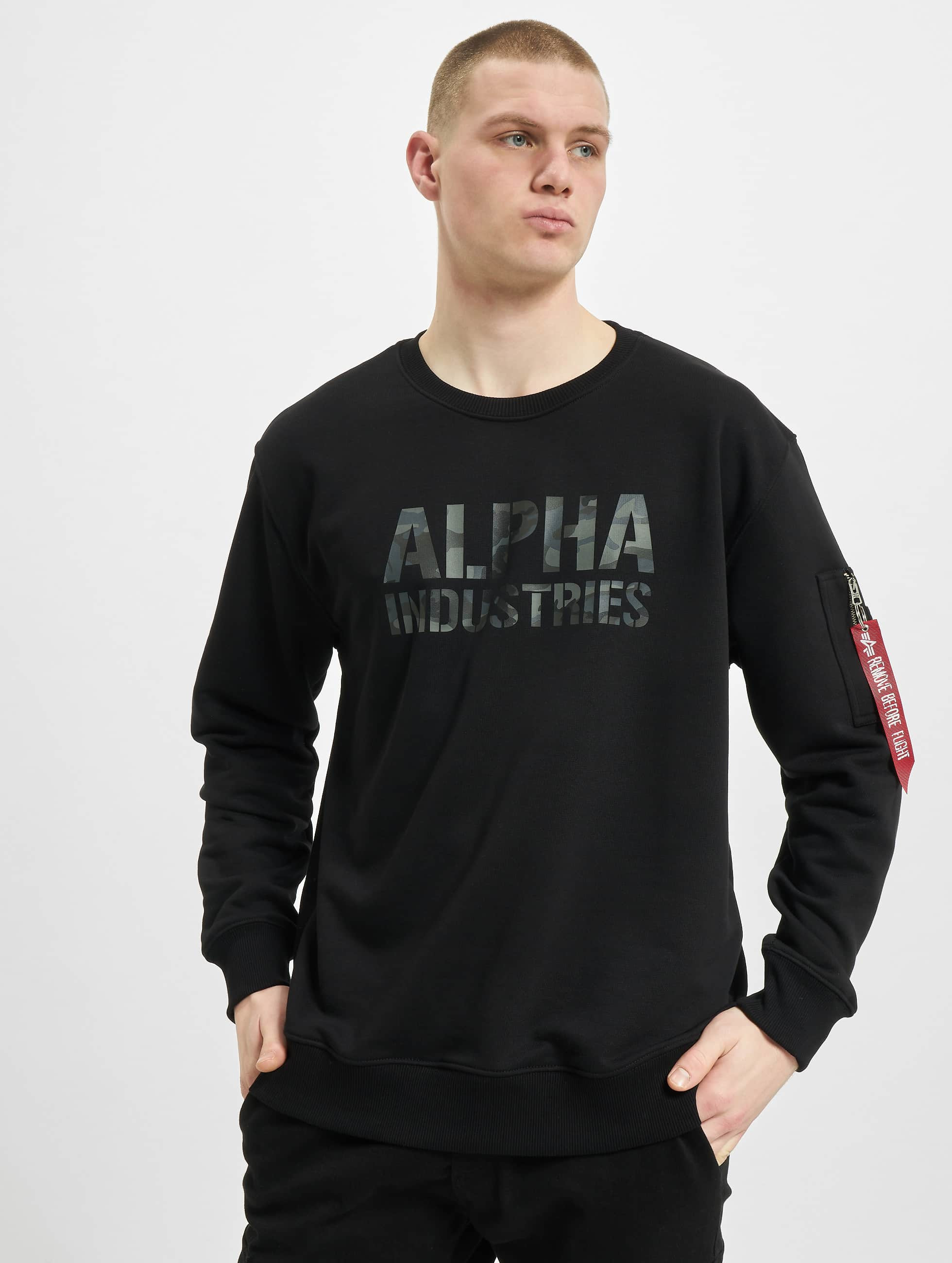 Alpha Industries Swetry Camo Print czarny