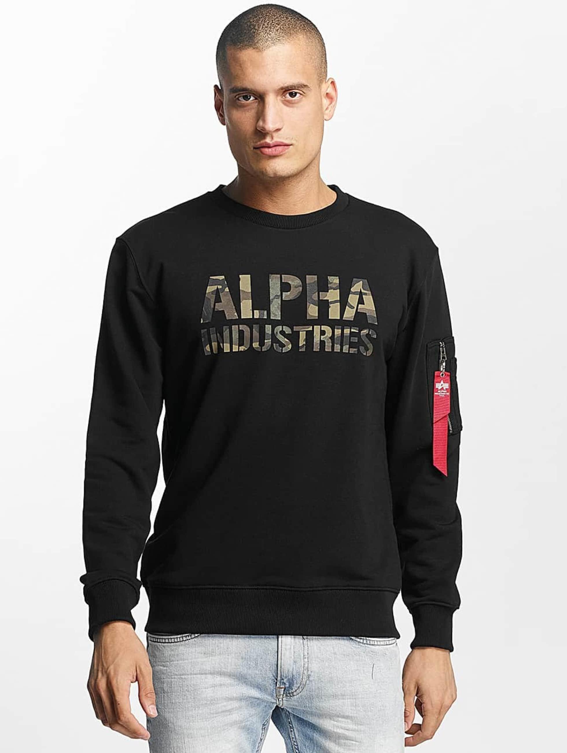 Alpha Industries Swetry Camo Print czarny