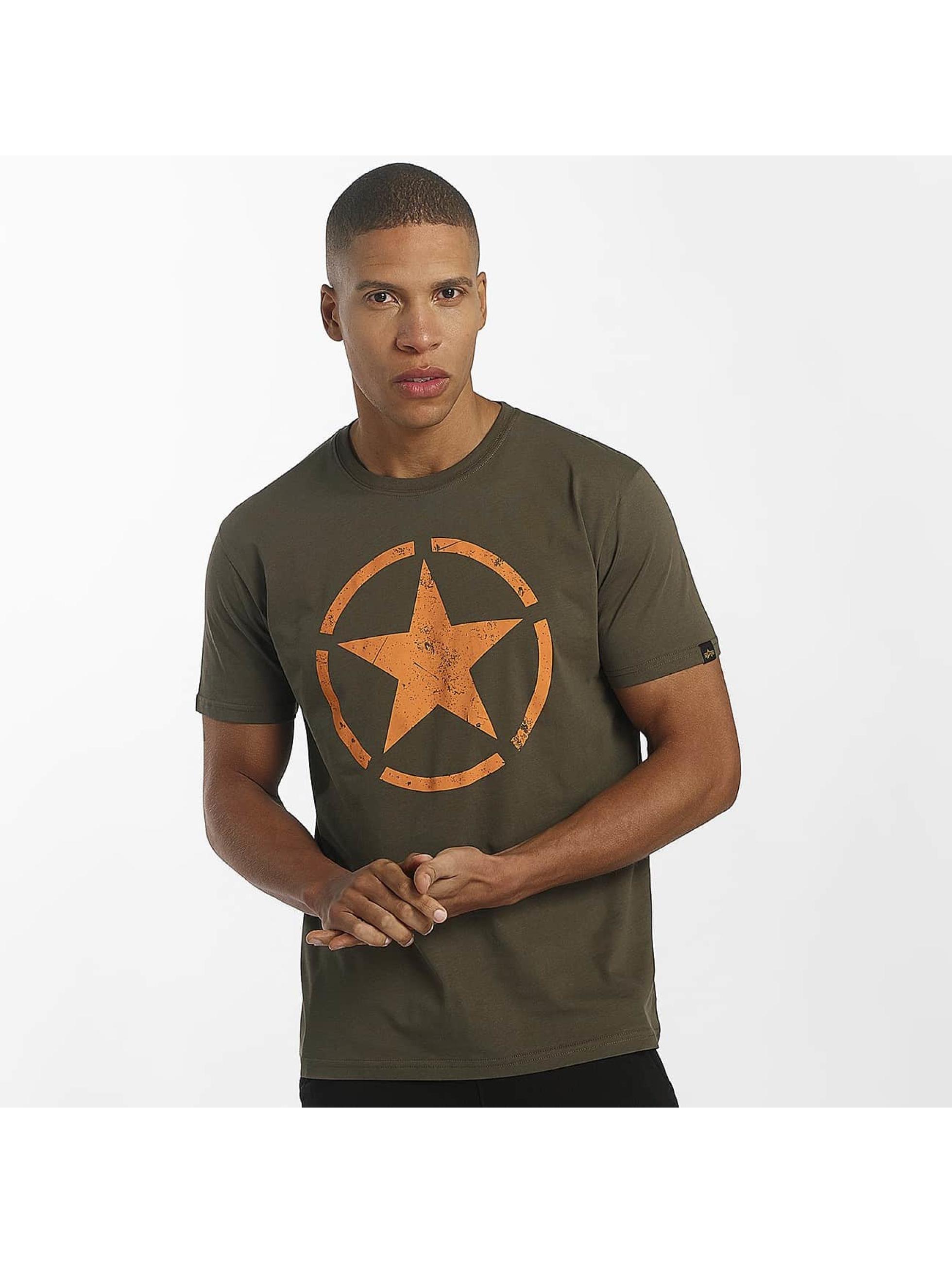 Alpha Industries T-Shirty Star oliwkowy