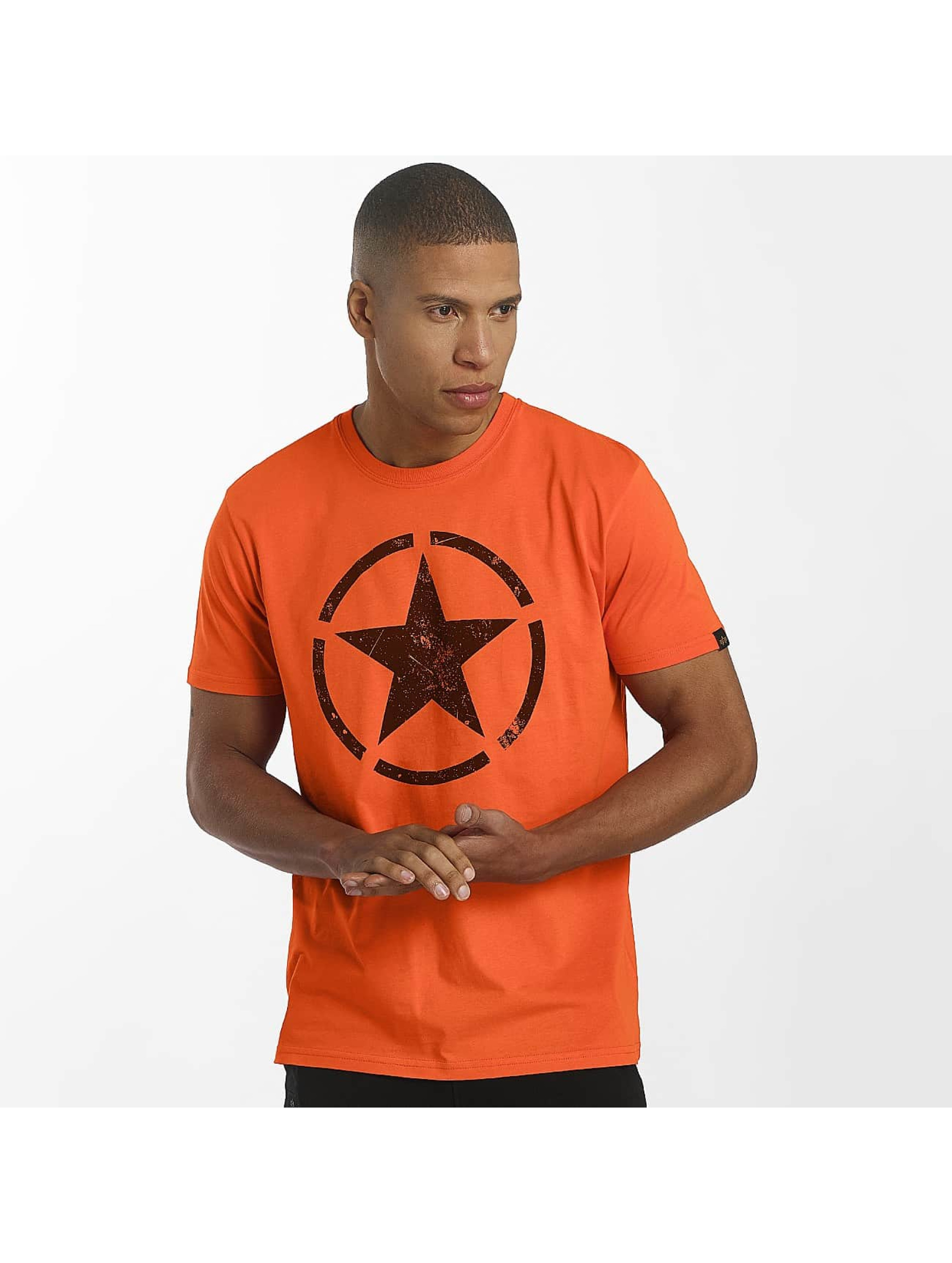 Alpha Industries T-Shirty Star pomaranczowy