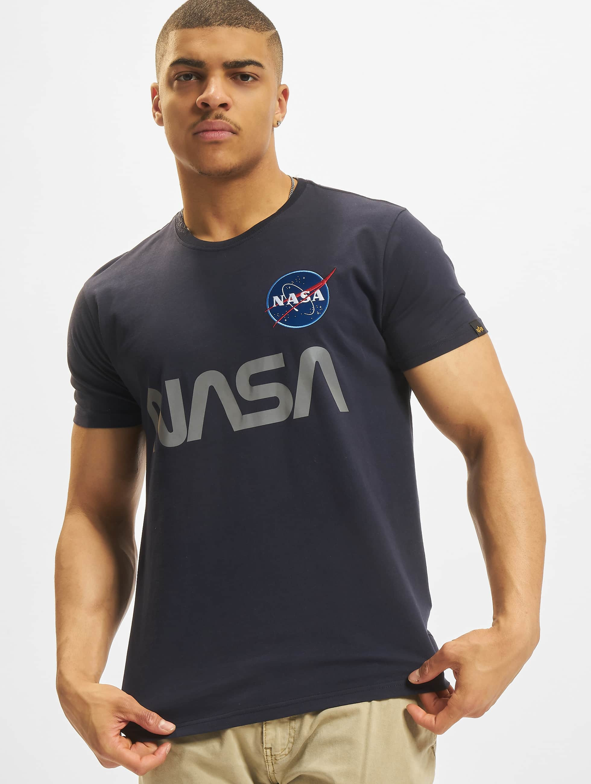 Alpha Industries Tričká NASA Reflective modrá