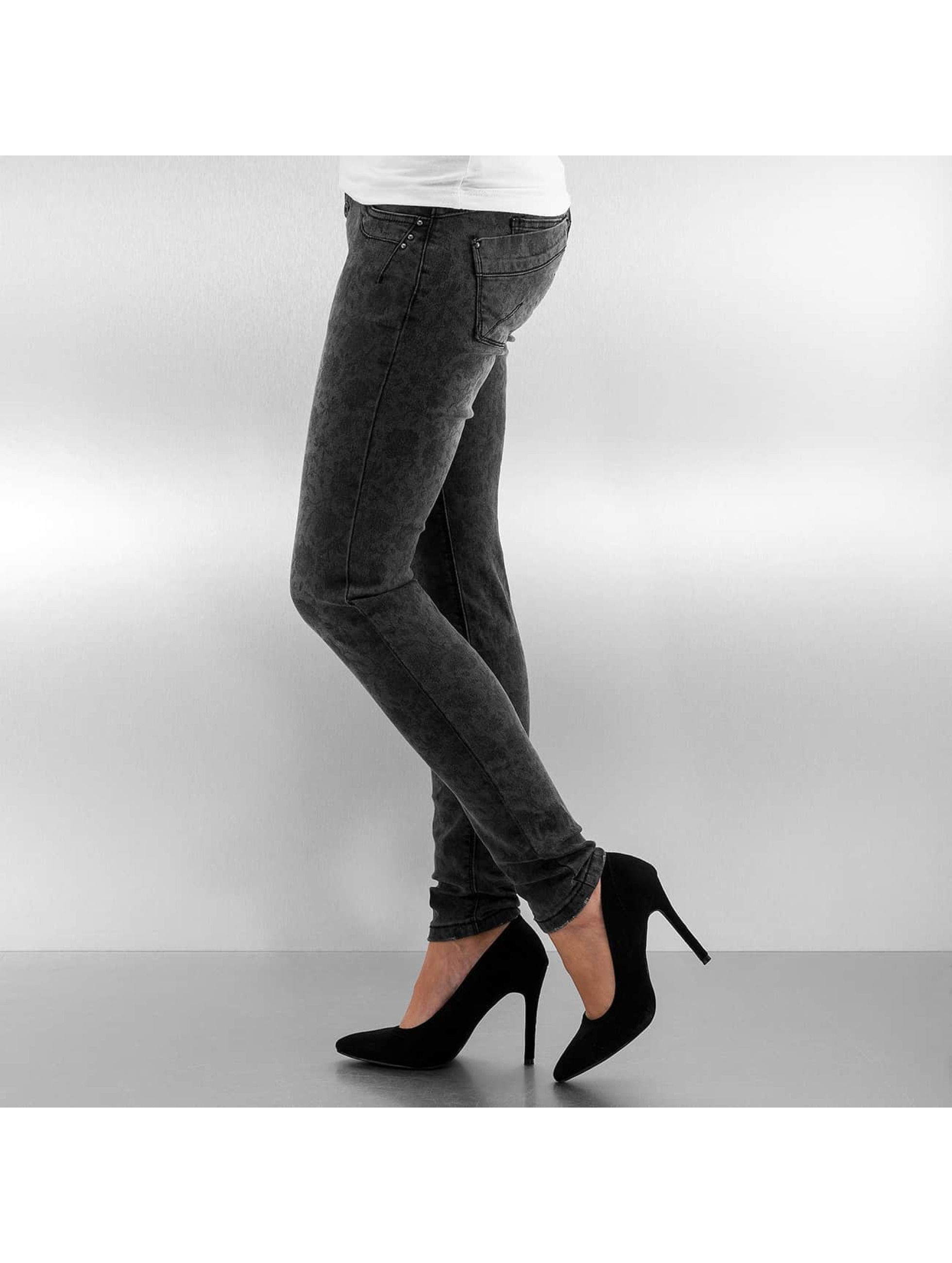 Authentic Style Jean skinny Roses noir