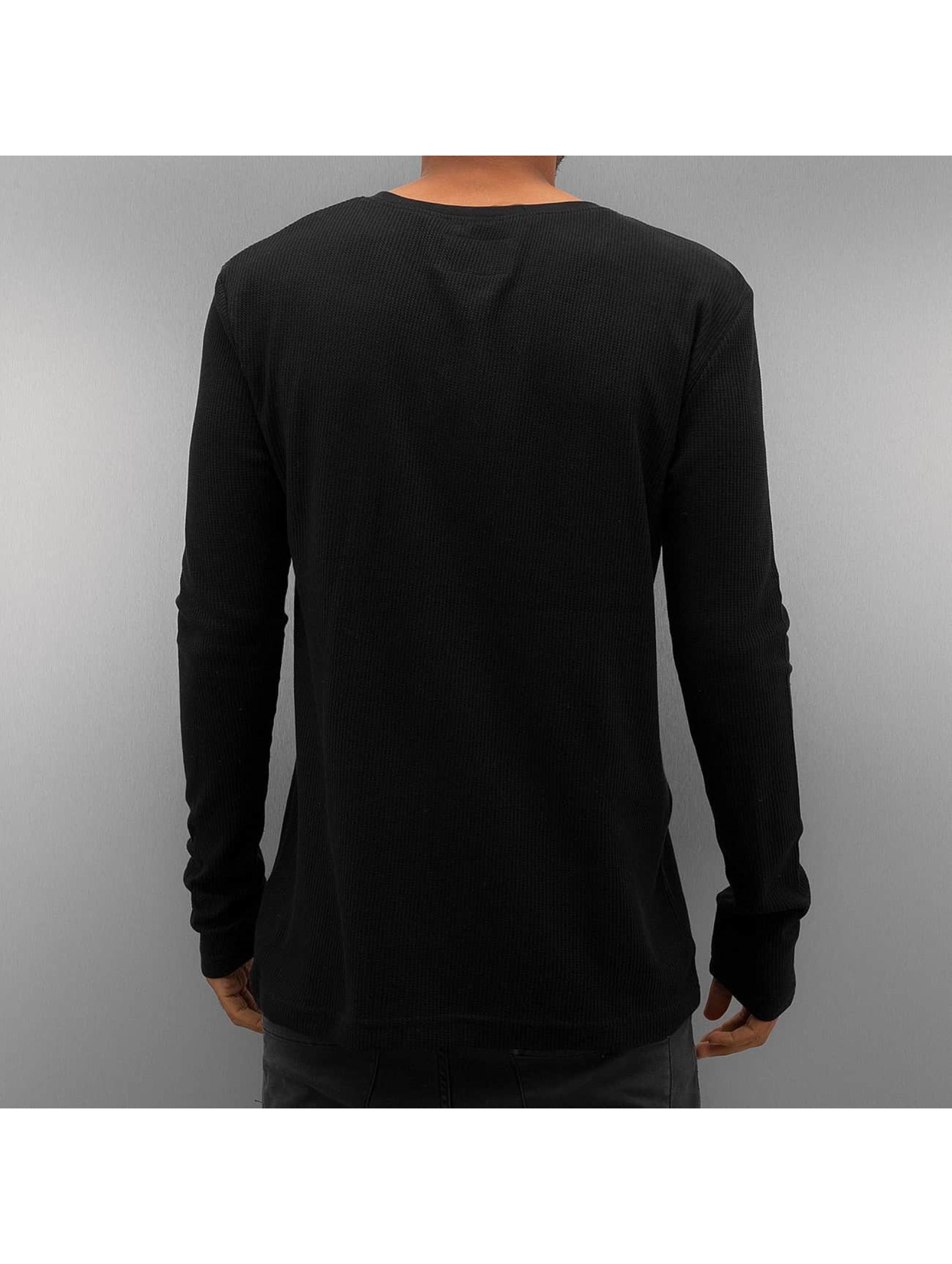 Authentic Style Longsleeve Henley schwarz