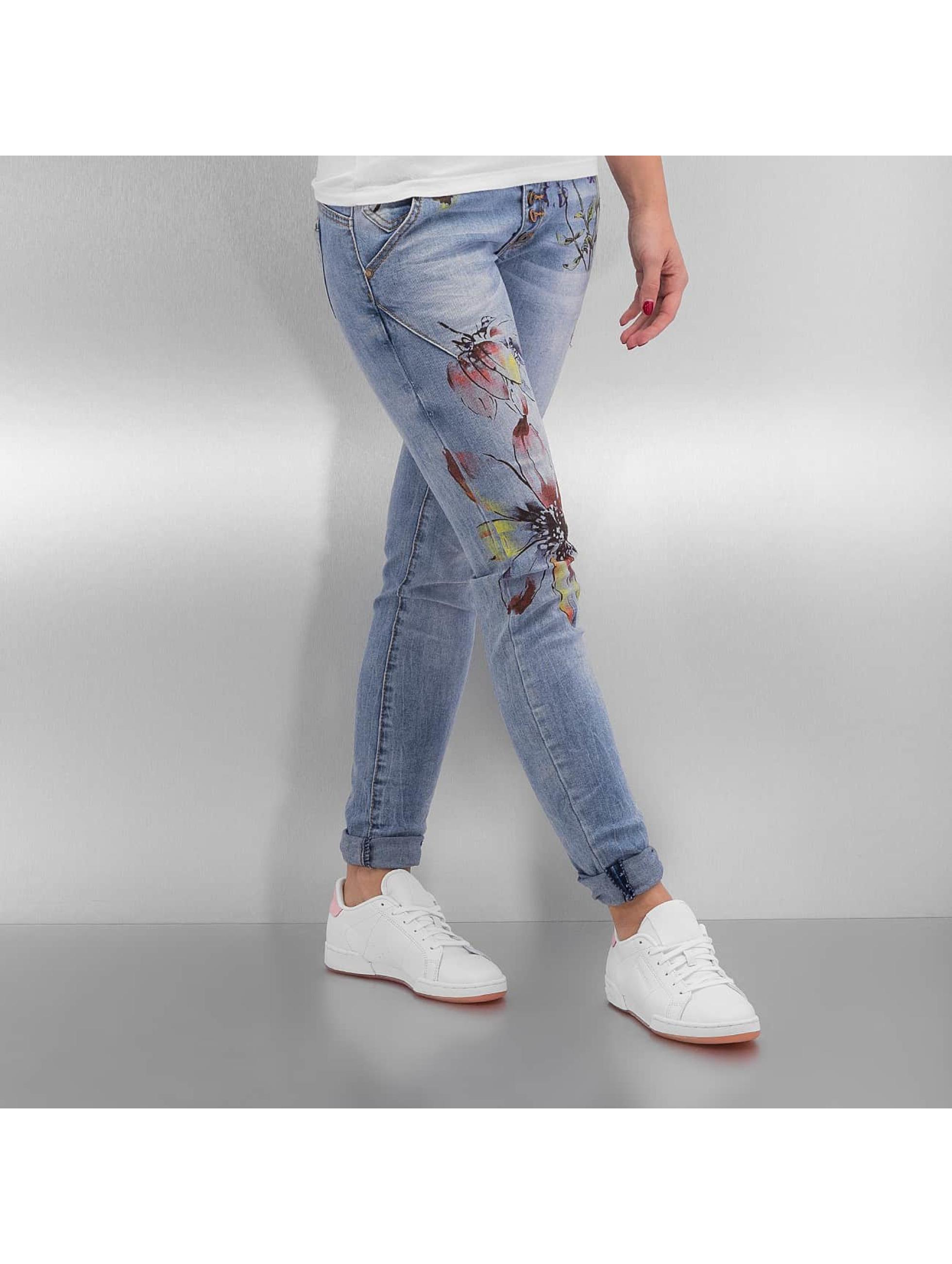 Skinny Jeans Rock Angel Flower in blau