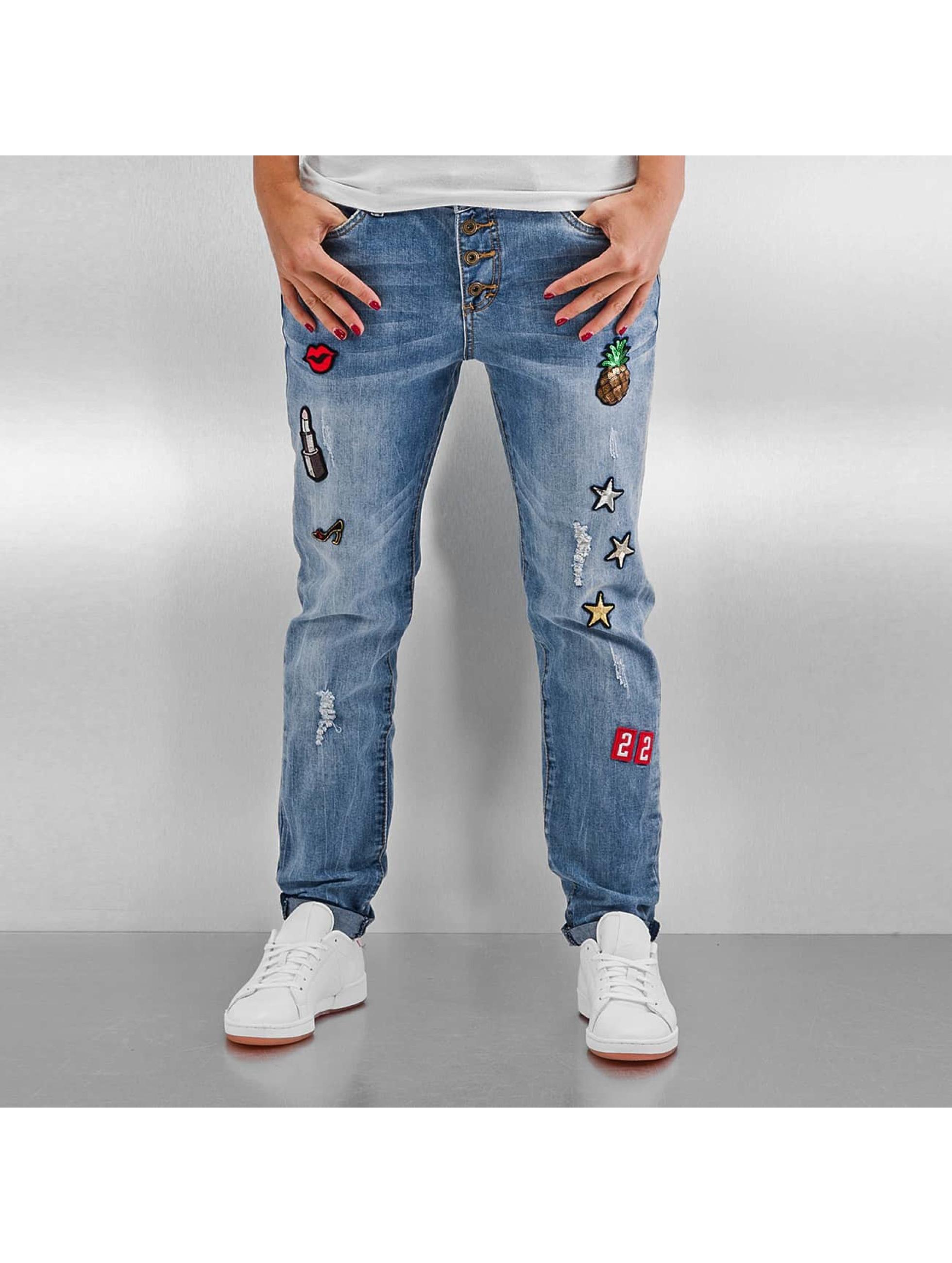 Authentic Style Väljät farkut Rosie Badges sininen