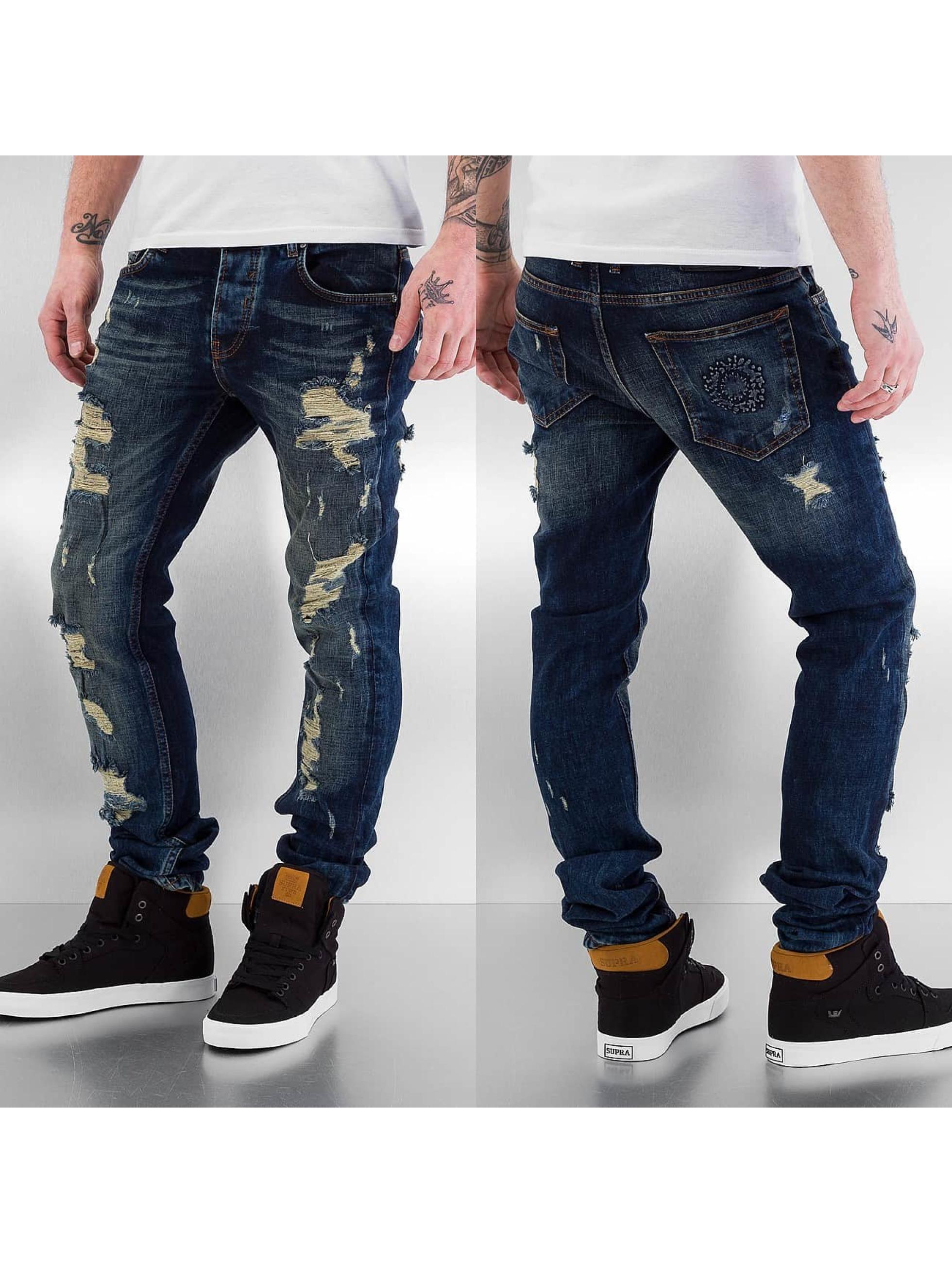 Bangastic Облегающие джинсы Destroyed синий