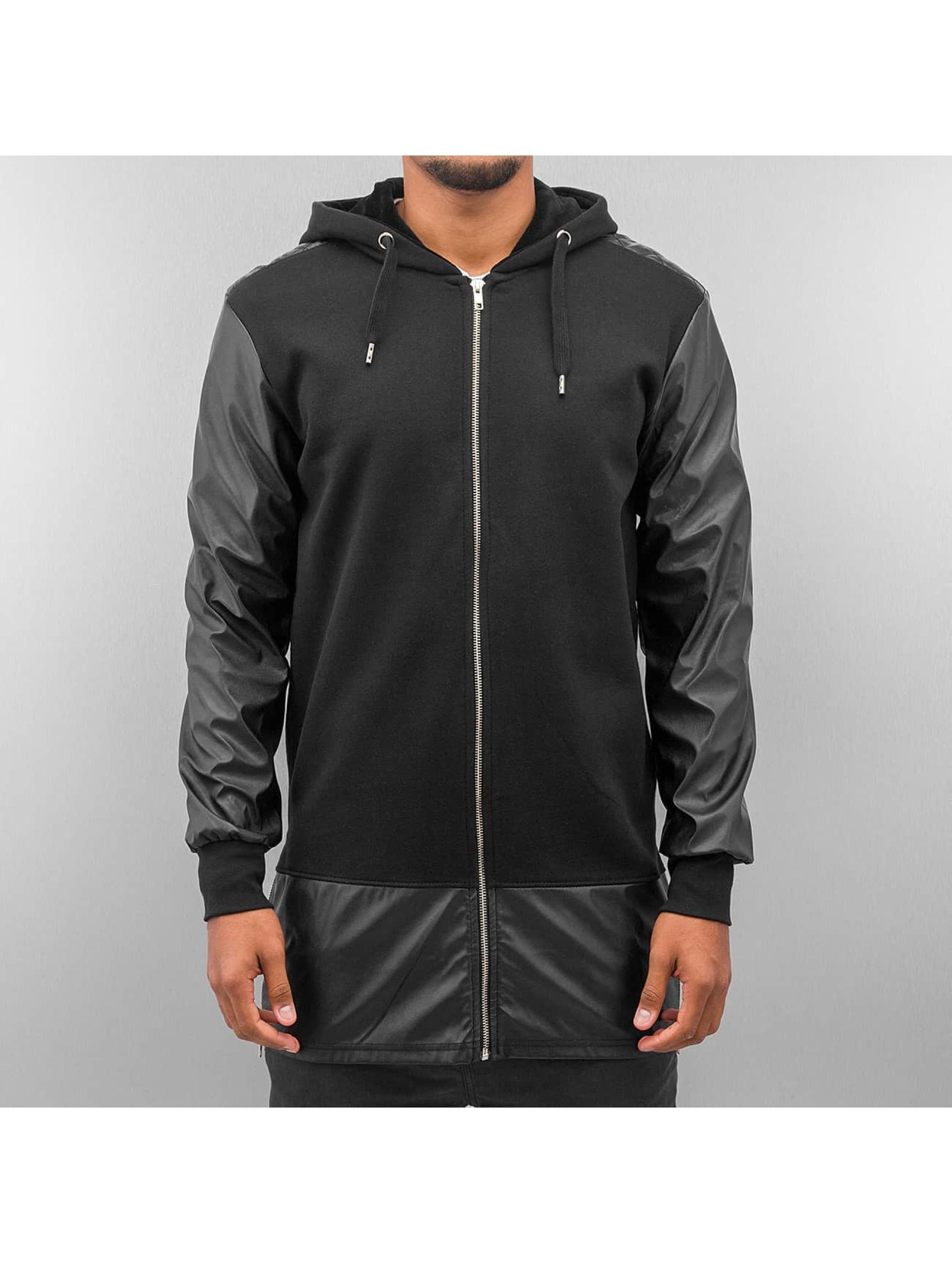 Bangastic Sweat capuche zippé long leather noir