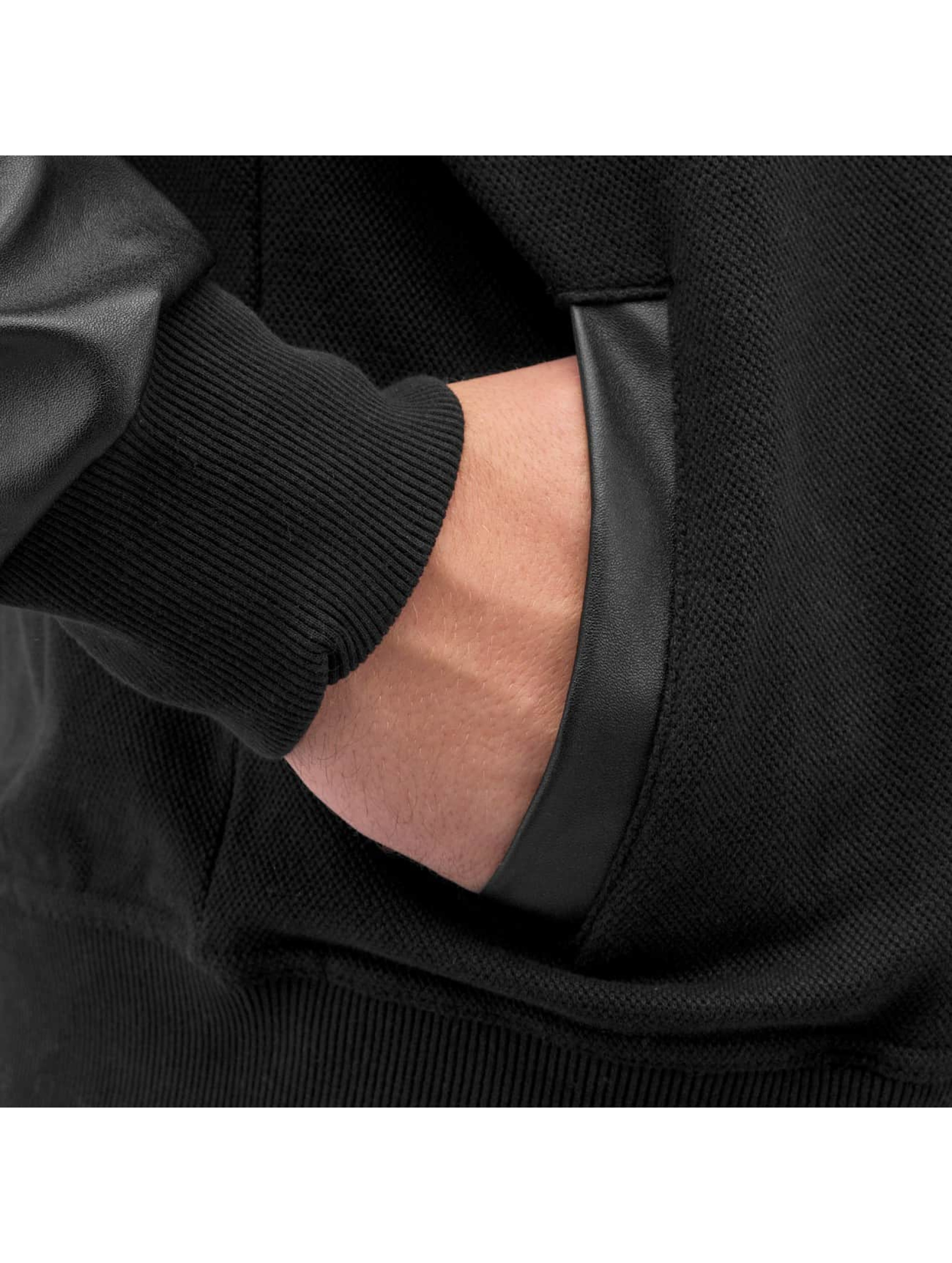 Bangastic Sweatvest PU Sleeve zwart