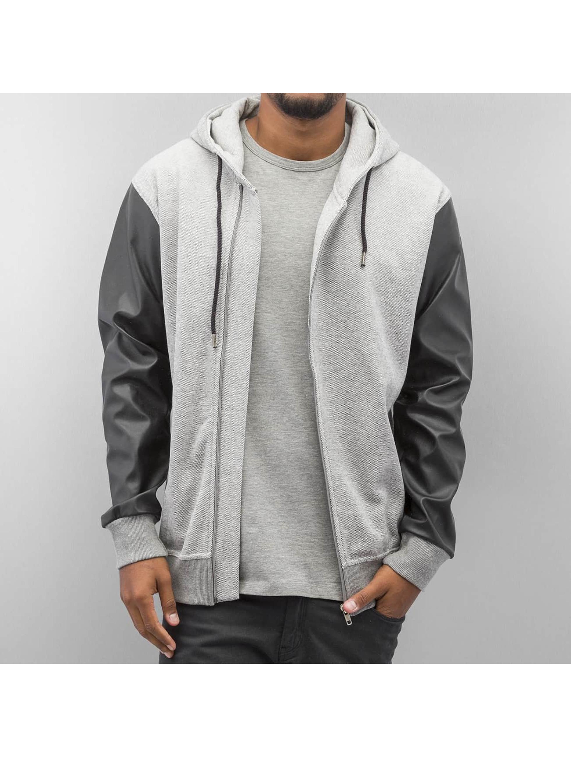 Bangastic Zip Hoodie PU Sleeve серый