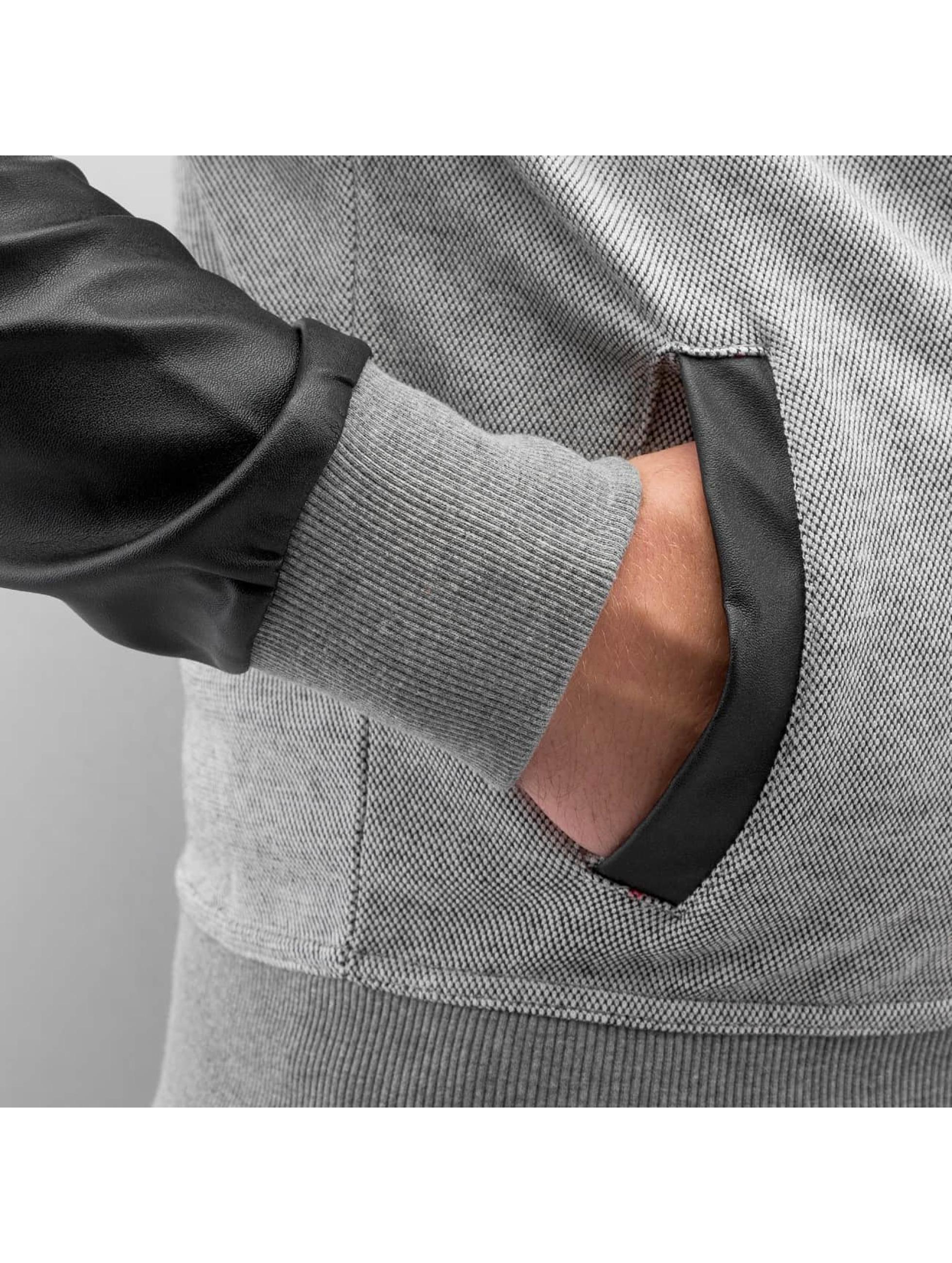 Bangastic Zip Hoodie PU Sleeve grau
