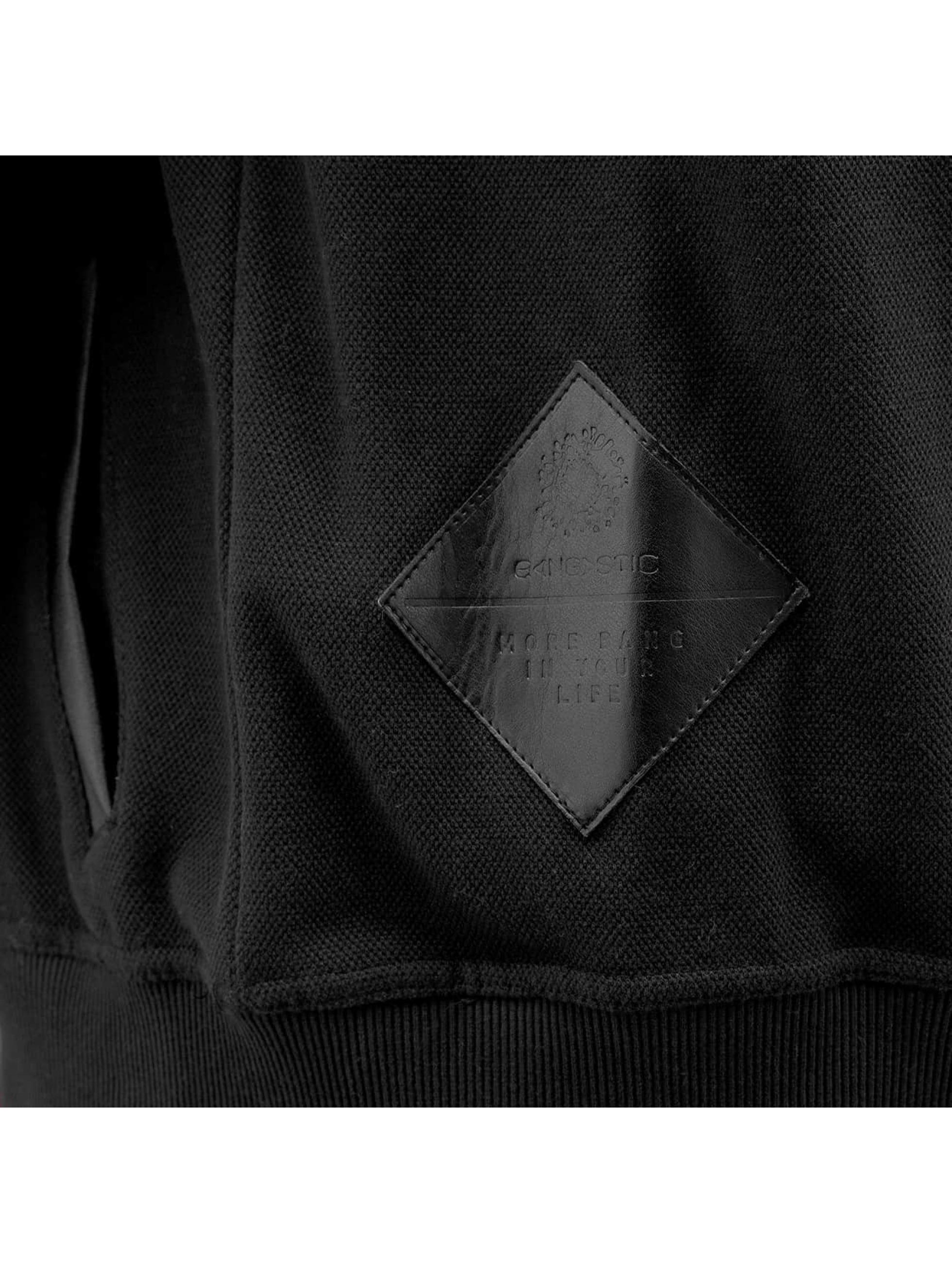 Bangastic Zip Hoodie PU Sleeve schwarz