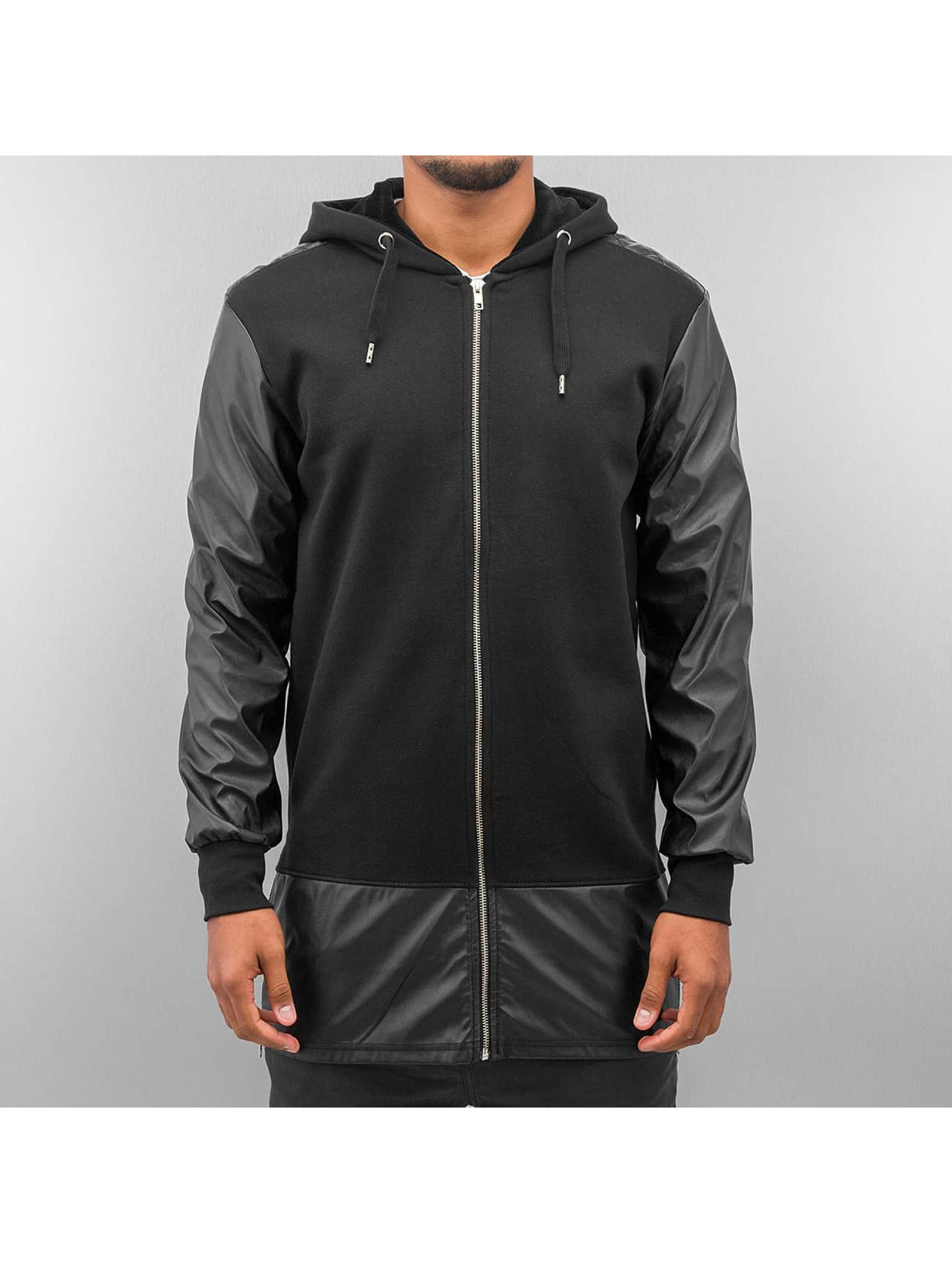 Bangastic Zip Hoodie long leather schwarz