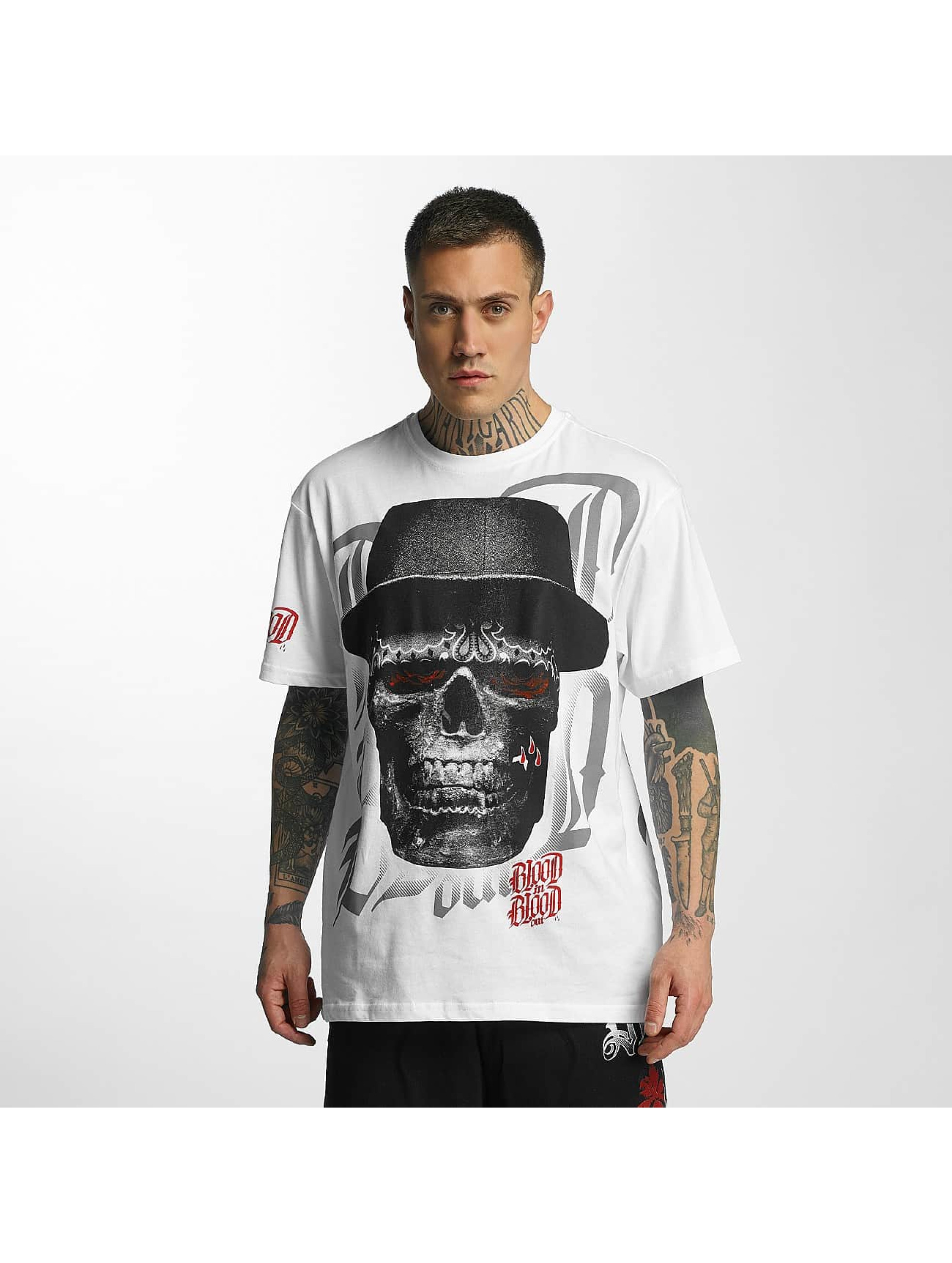 Blood In Blood Out T-Shirt Out Skull Hat blanc