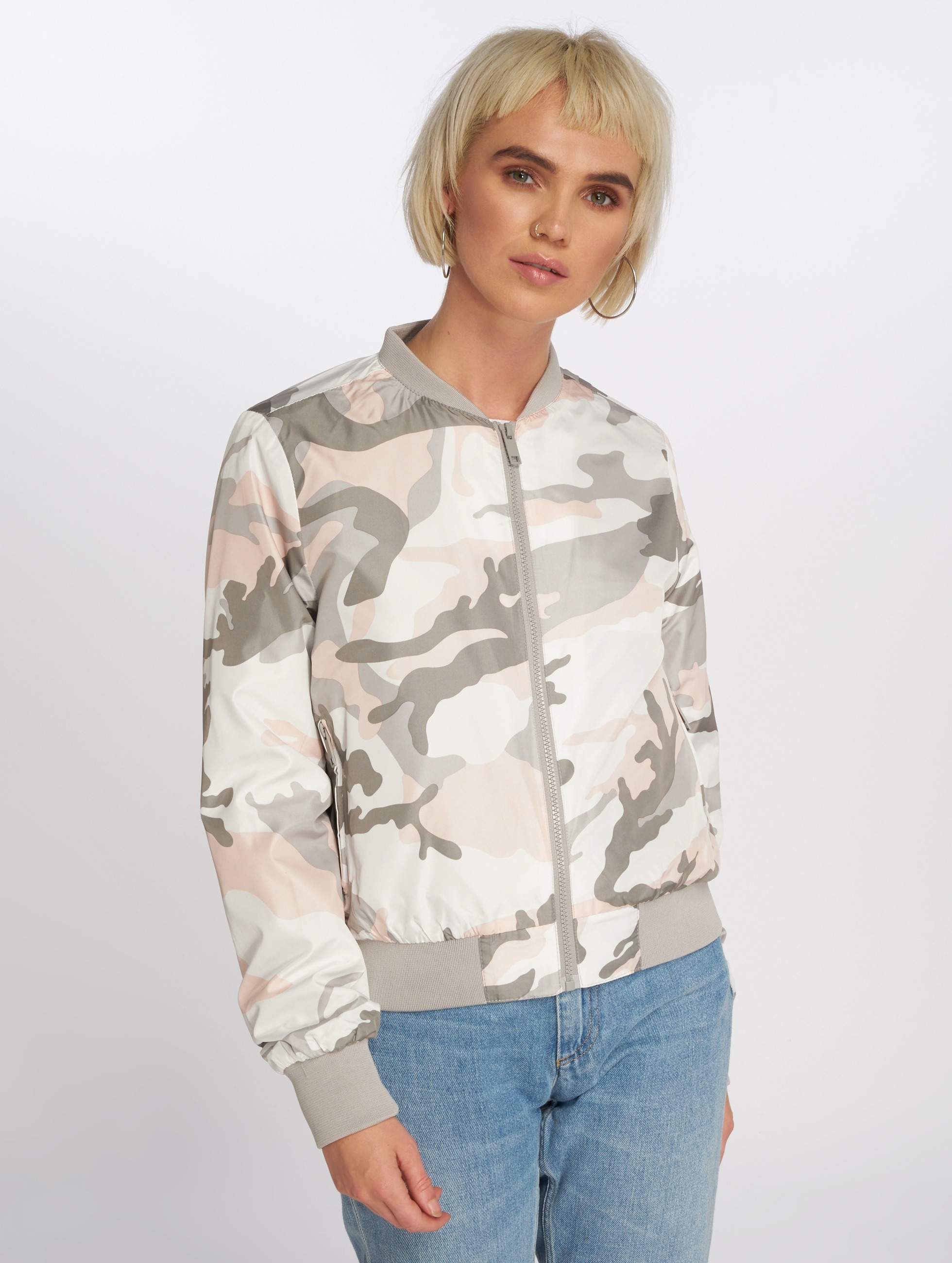 Brave Soul Bomber All Over Camouflage Print camouflage