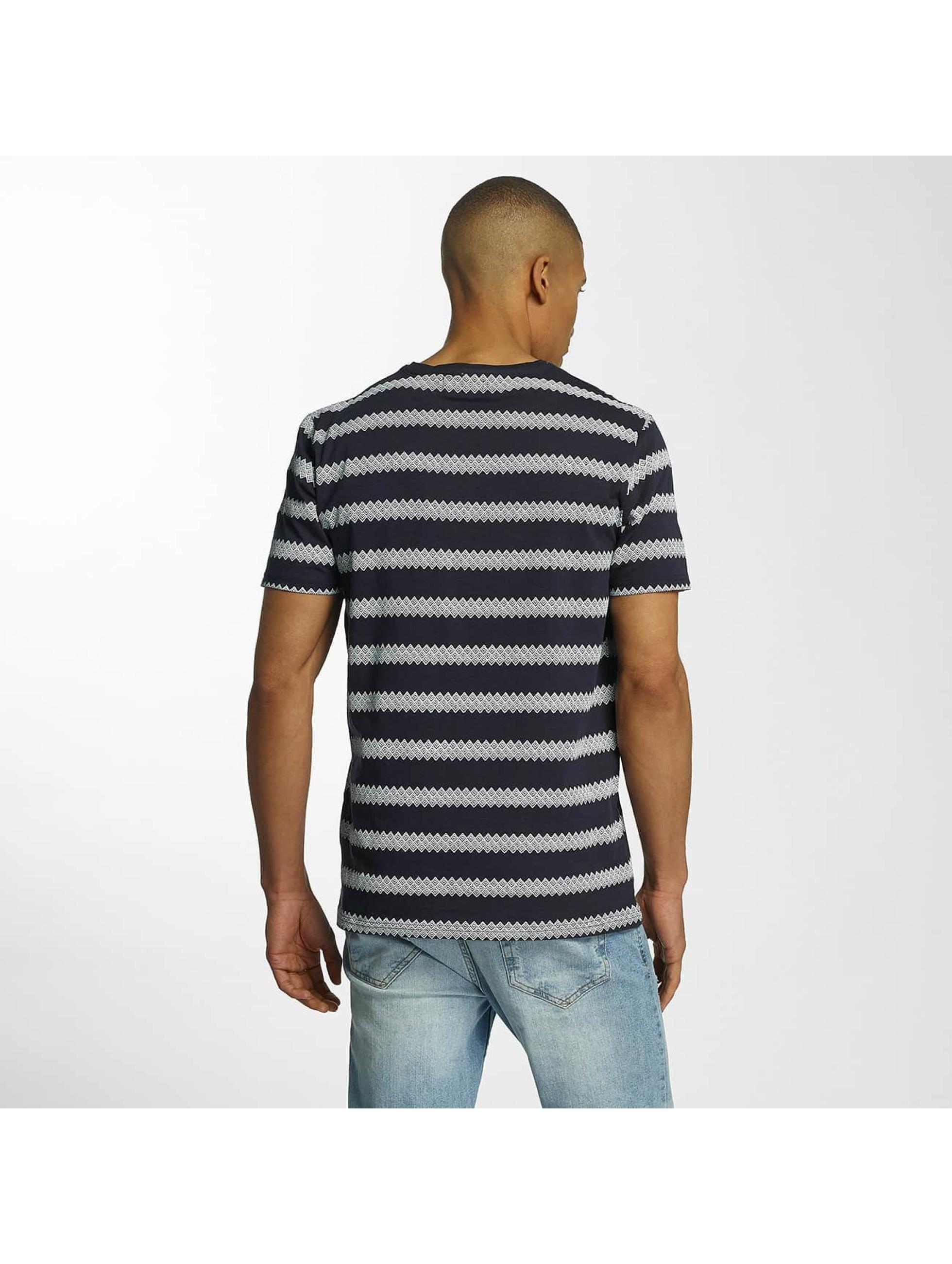 Brave Soul Camiseta Jacquard Stripe Crew Neck azul
