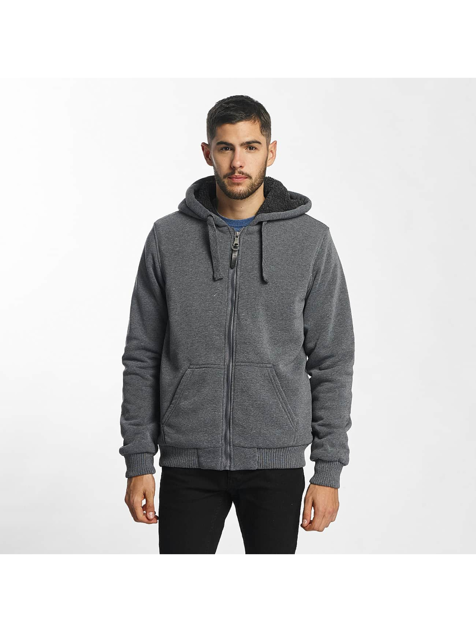 Brave Soul Hoodies con zip Sherpa Lined grigio