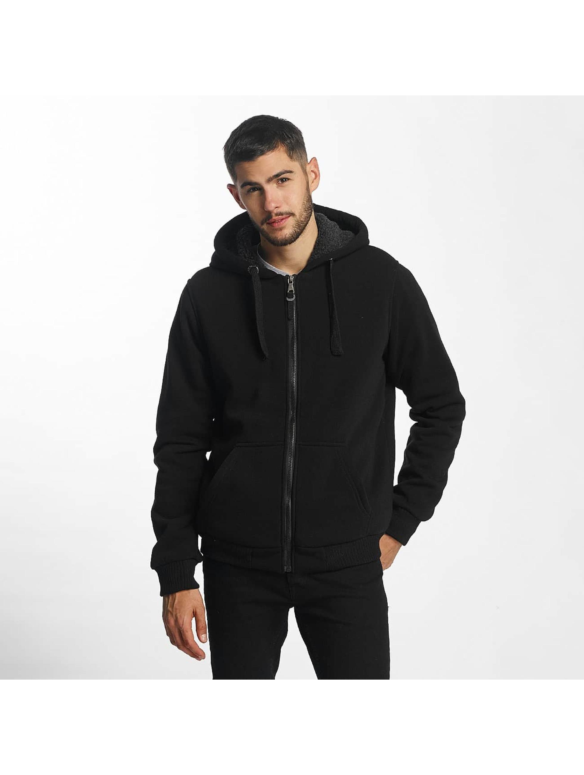 Brave Soul Hoodies con zip Sherpa Lined nero