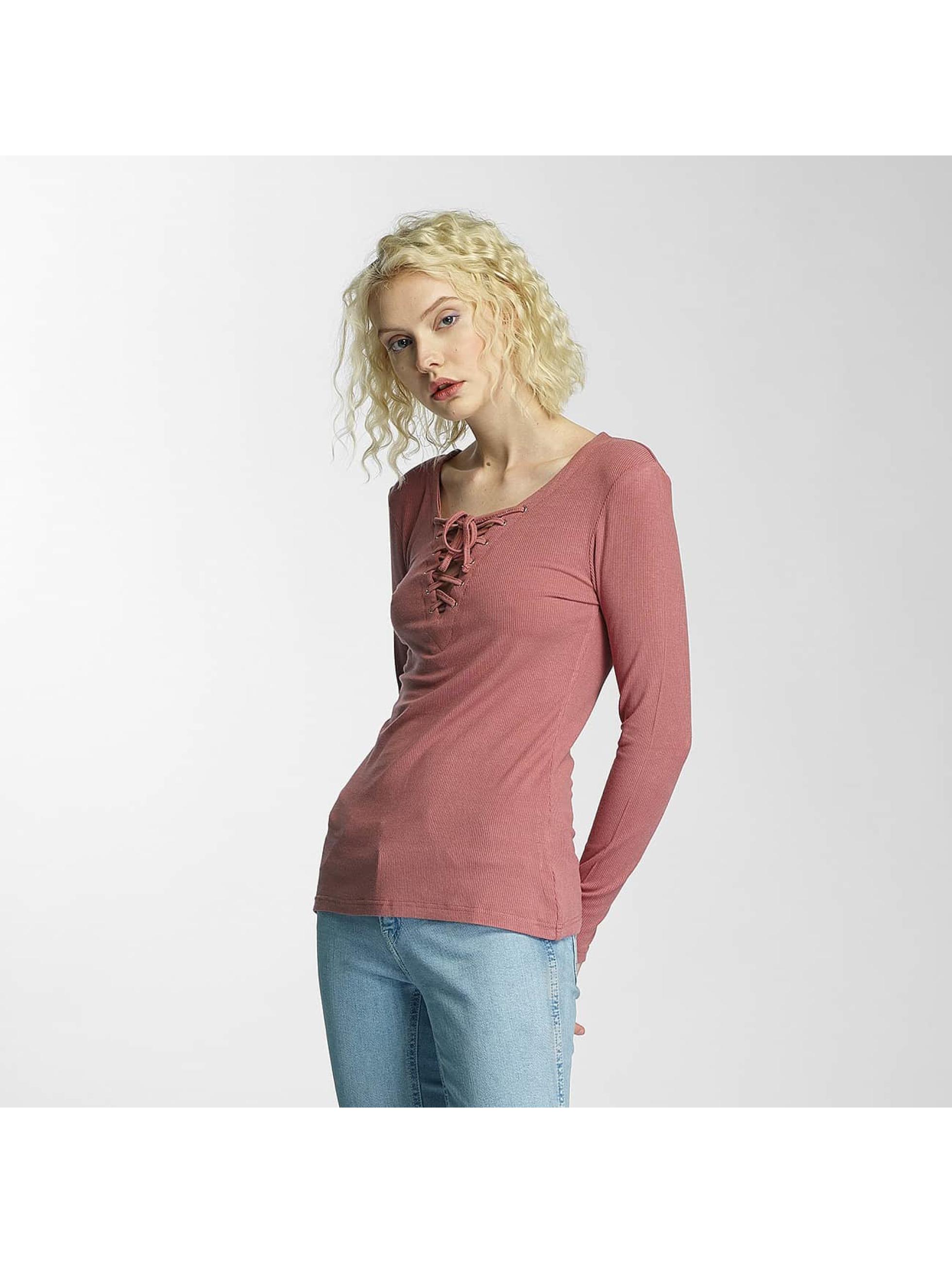Brave Soul Maglietta a manica lunga Tie Up rosa chiaro