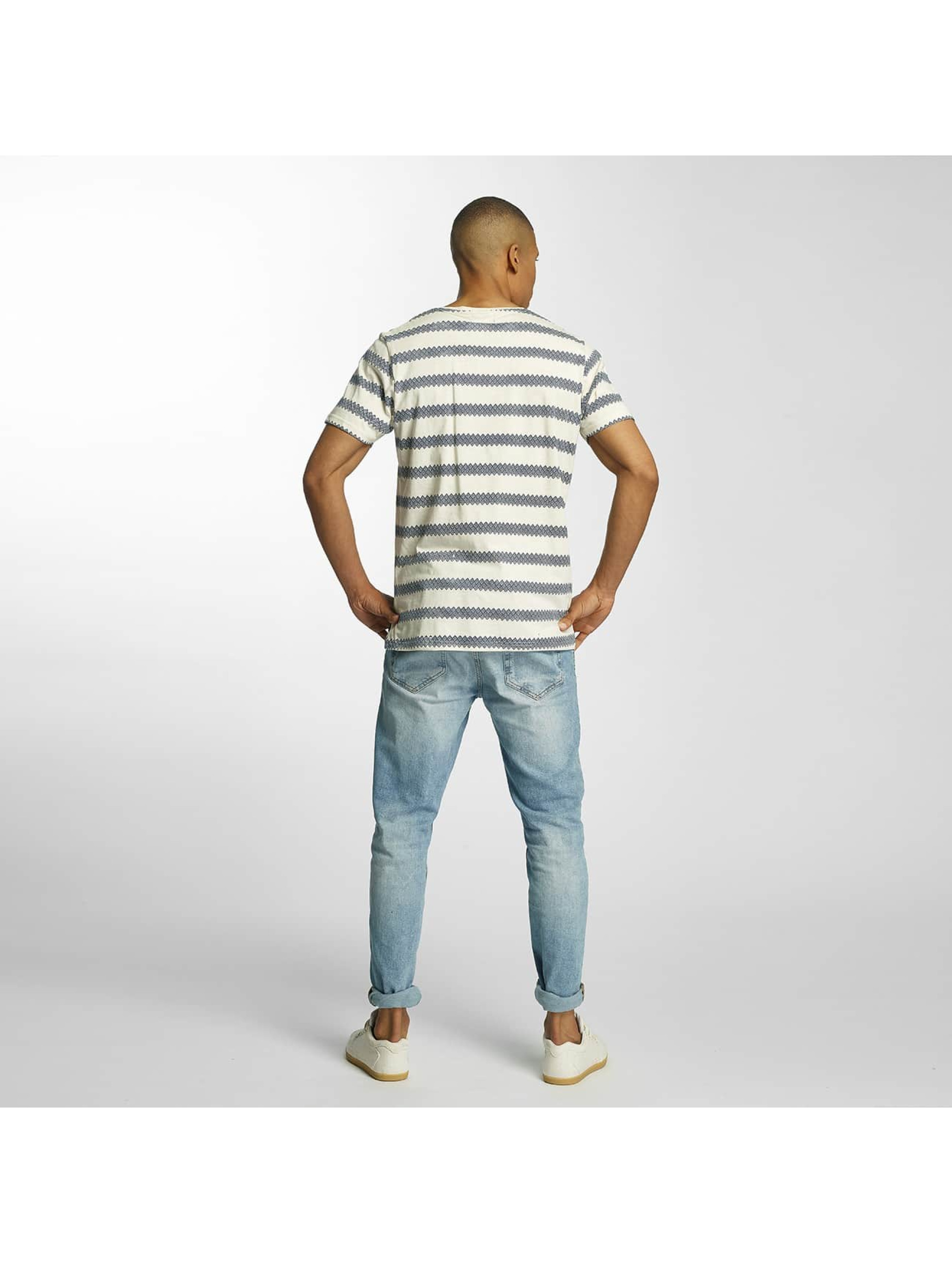 Brave Soul T-paidat Jacquard Stripe Crew Neck beige