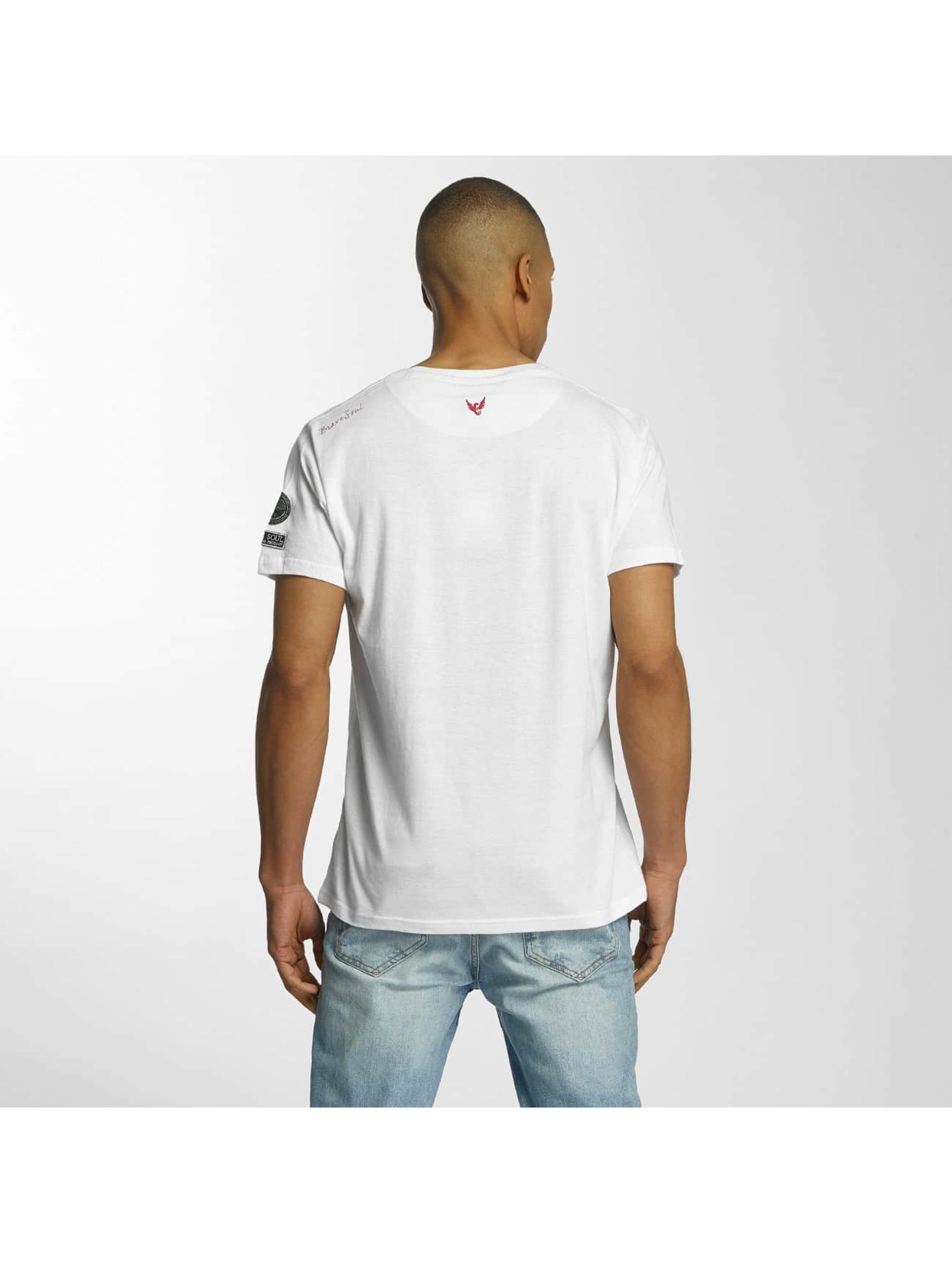 Brave Soul T-shirt Large Crew Neck bianco