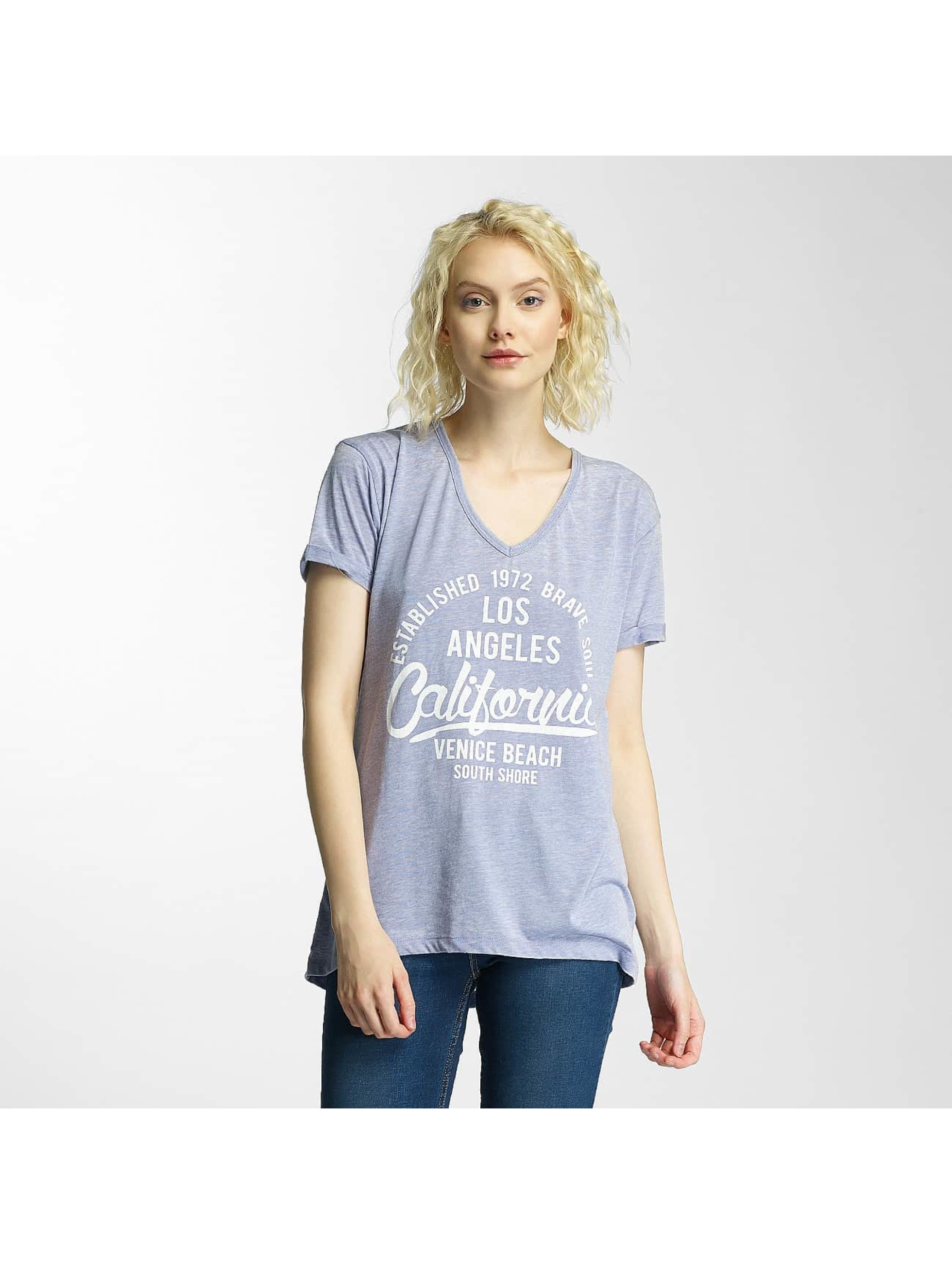 Brave Soul T-Shirt Burn Out V-Neck blau