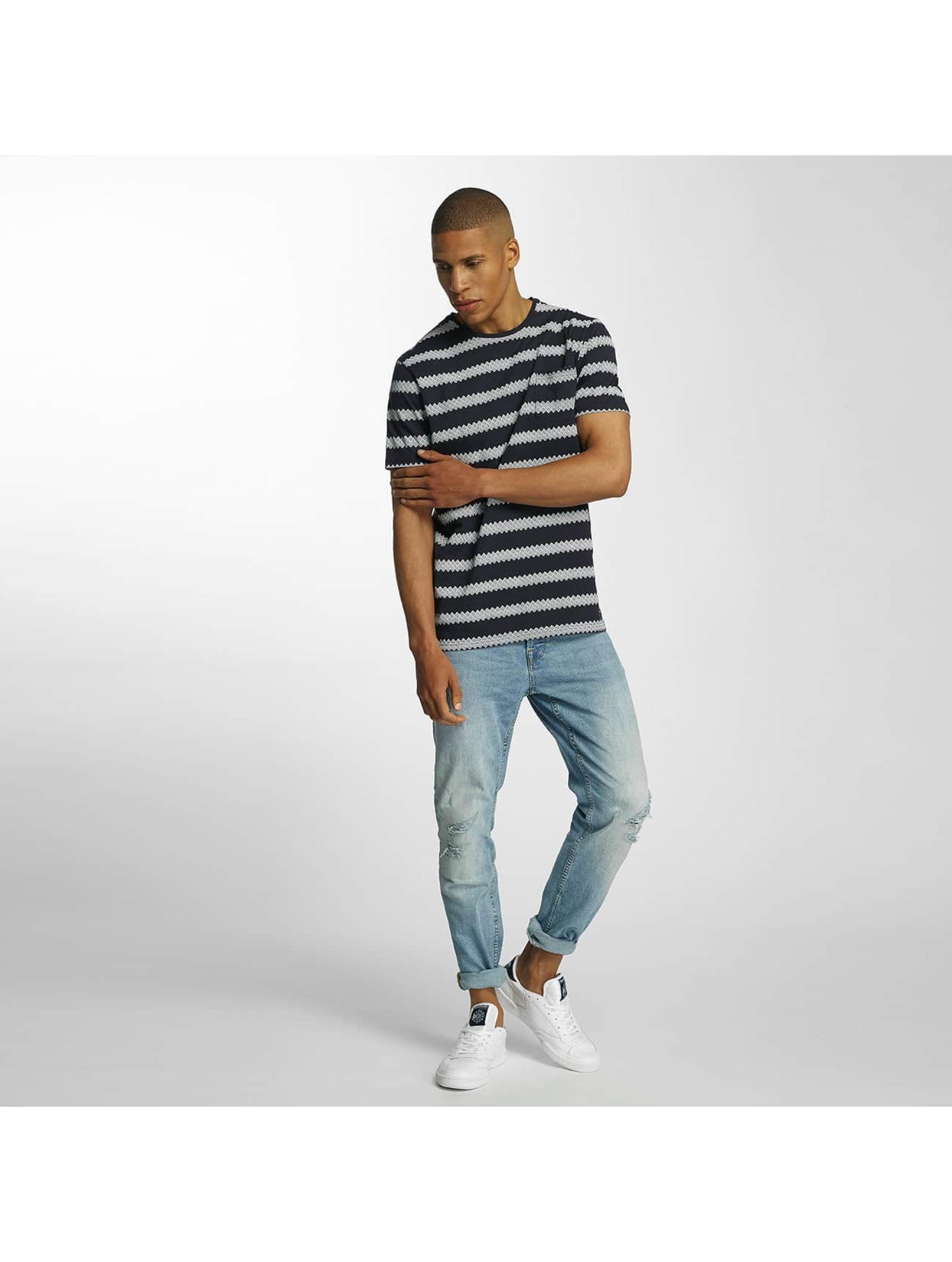 Brave Soul T-Shirt Jacquard Stripe Crew Neck blau