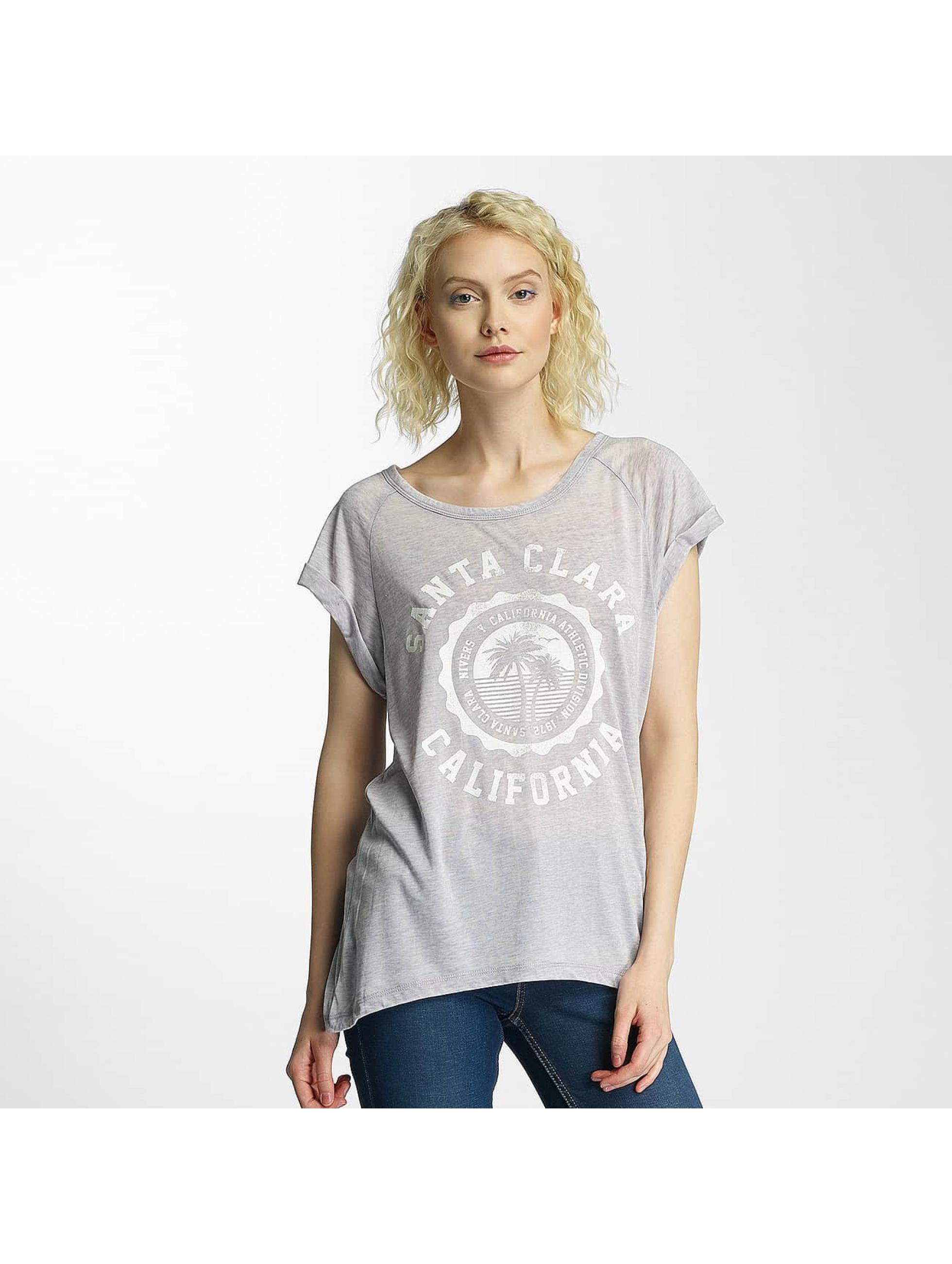 Brave Soul T-Shirt Burn Out Crew Neck grau