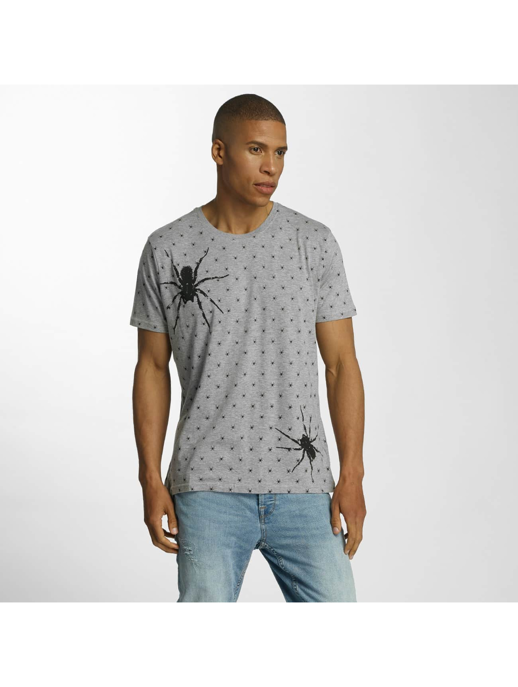Brave Soul T-Shirt All Over Spider Print grau