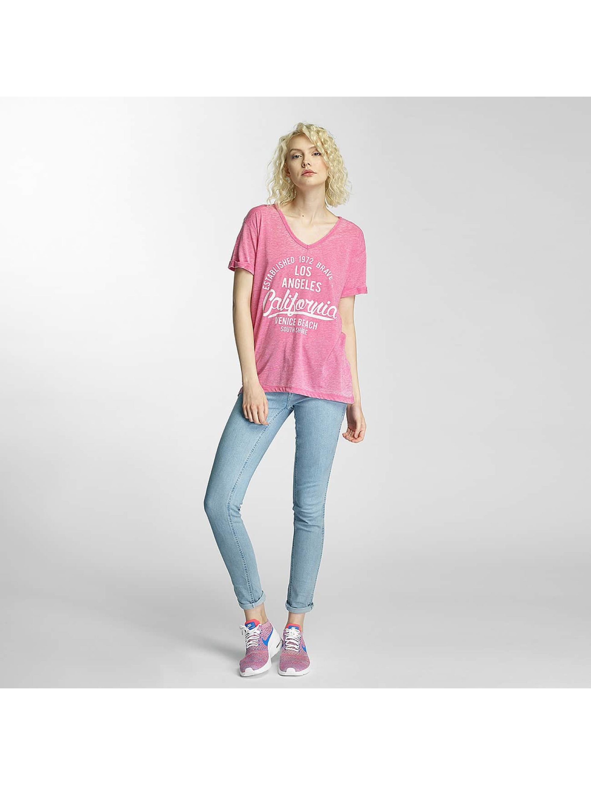 Brave Soul T-Shirt Soul Burn Out V-Neck magenta