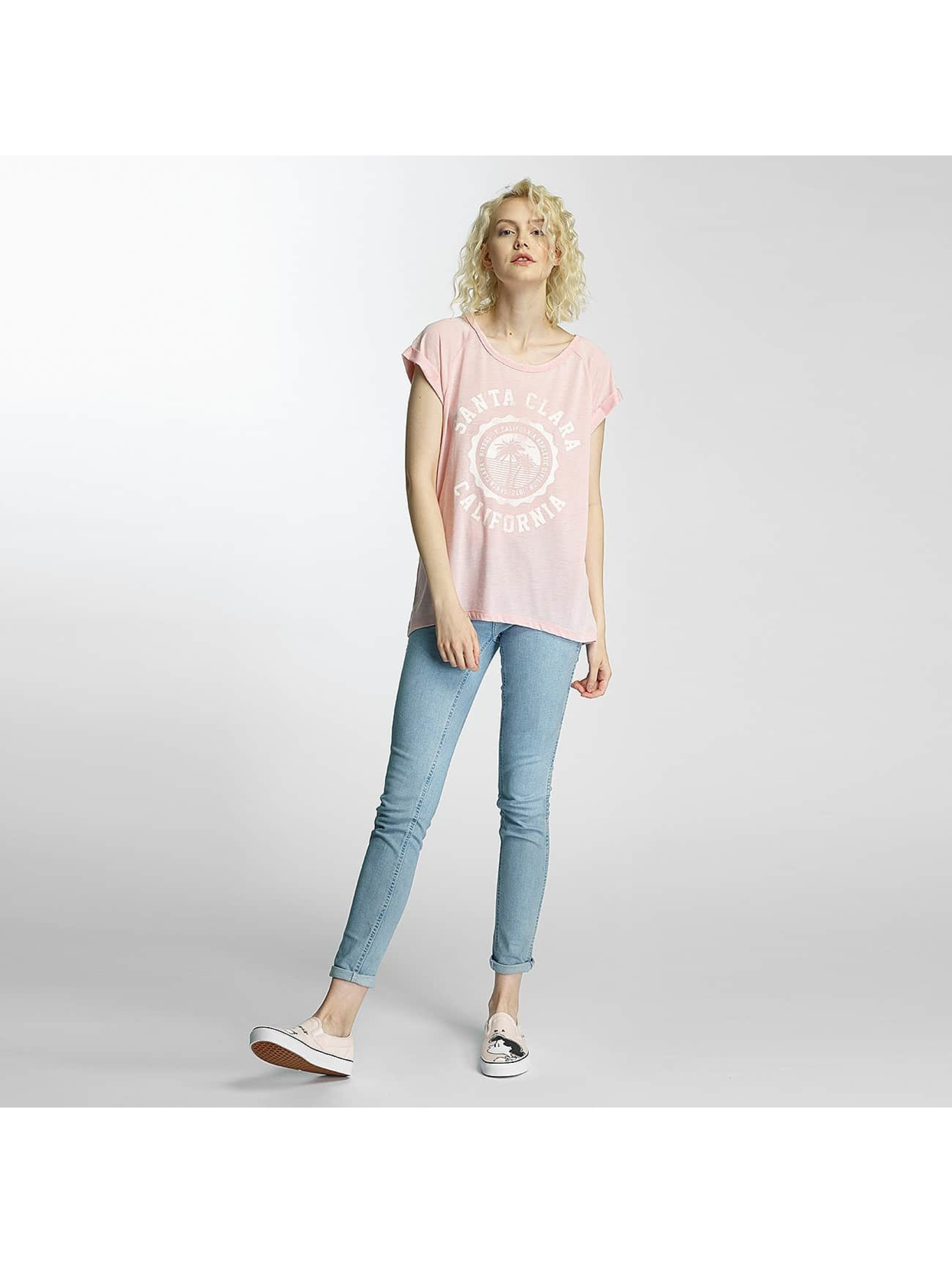 Brave Soul T-shirt Burn Out Crew Neck rosa chiaro