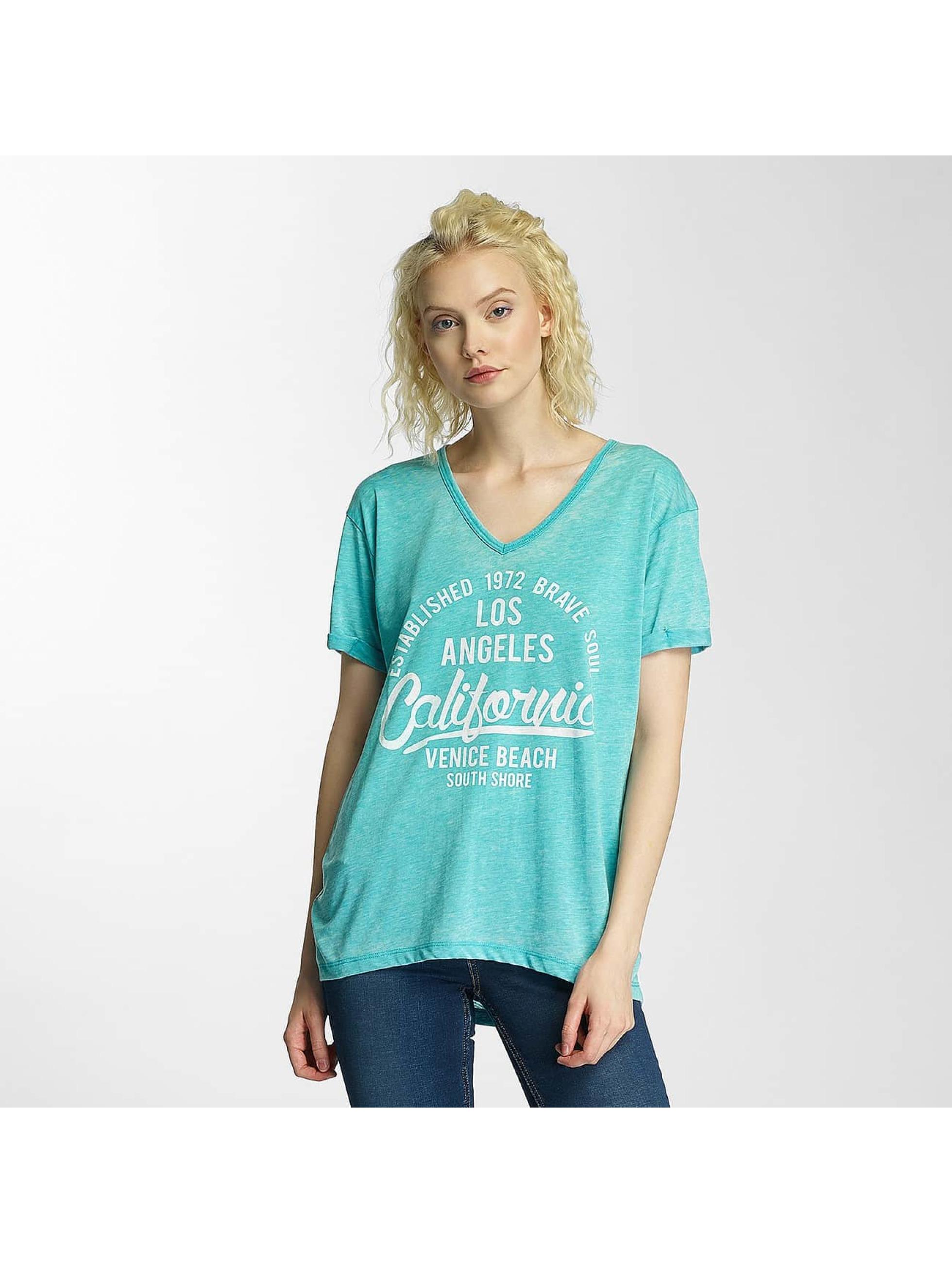 Brave Soul T-Shirt Soul Burn Out V-Neck türkis