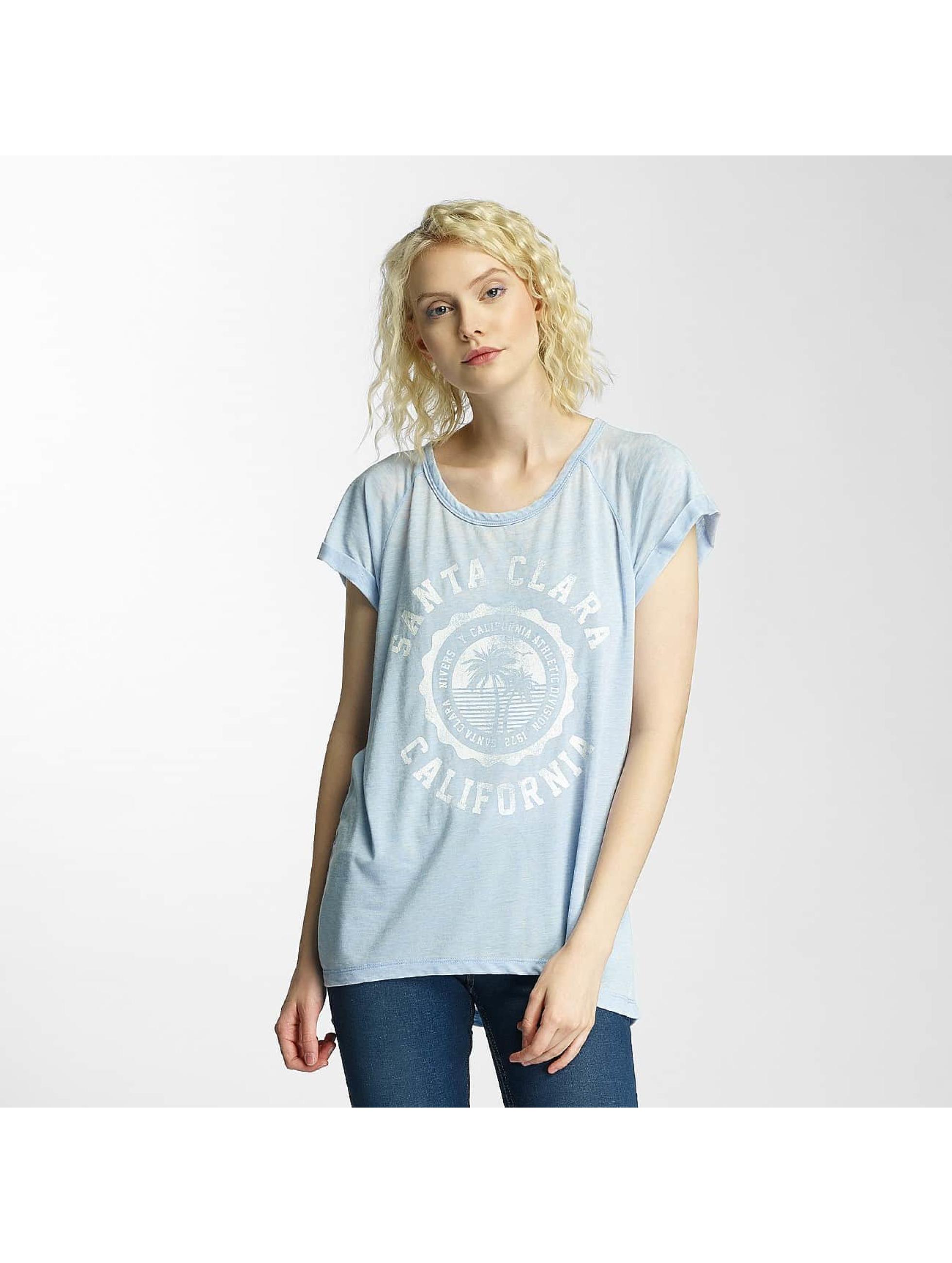 Brave Soul T-shirts Burn Out Crew Neck blå