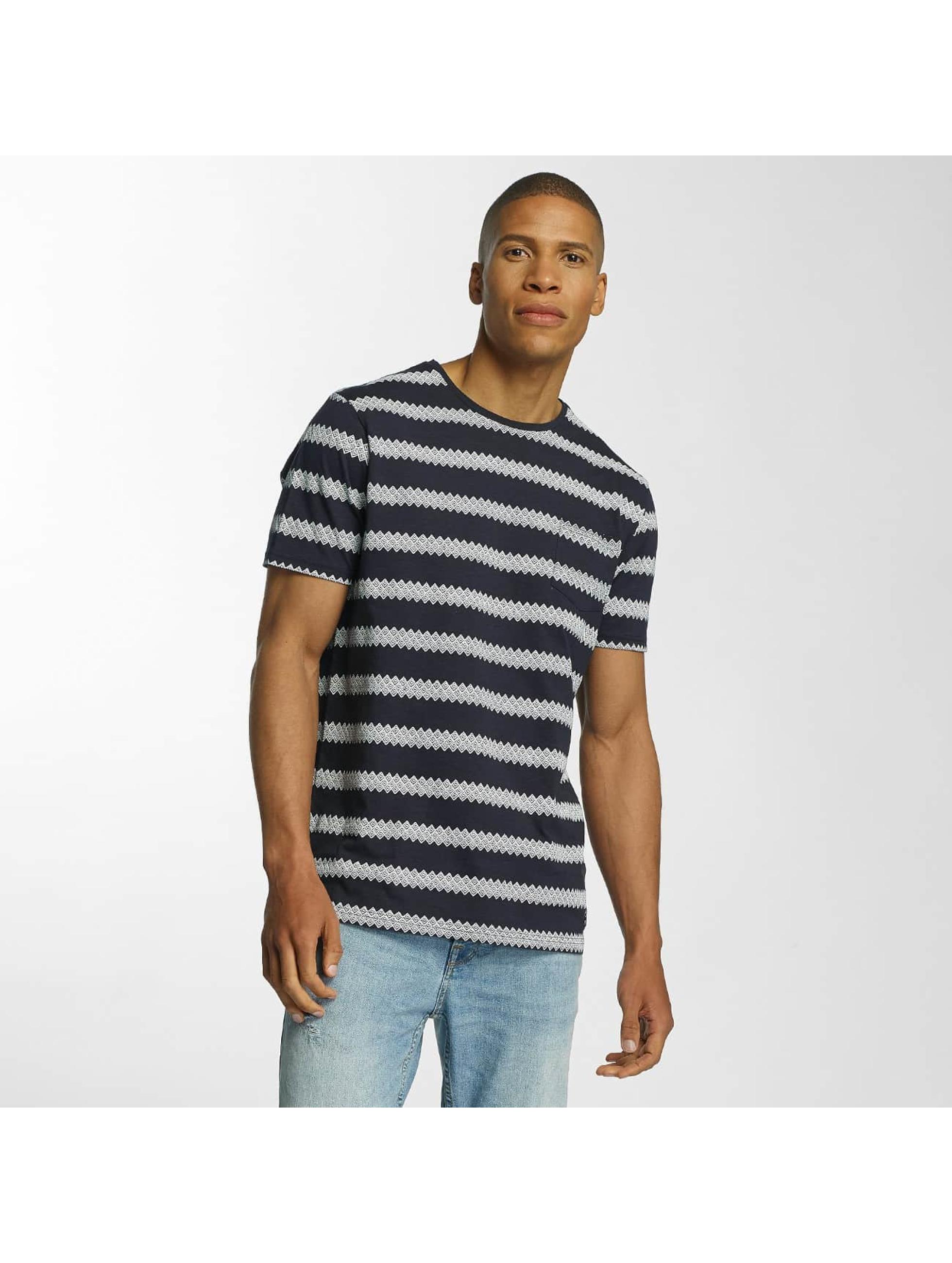 Brave Soul T-shirts Jacquard Stripe Crew Neck blå