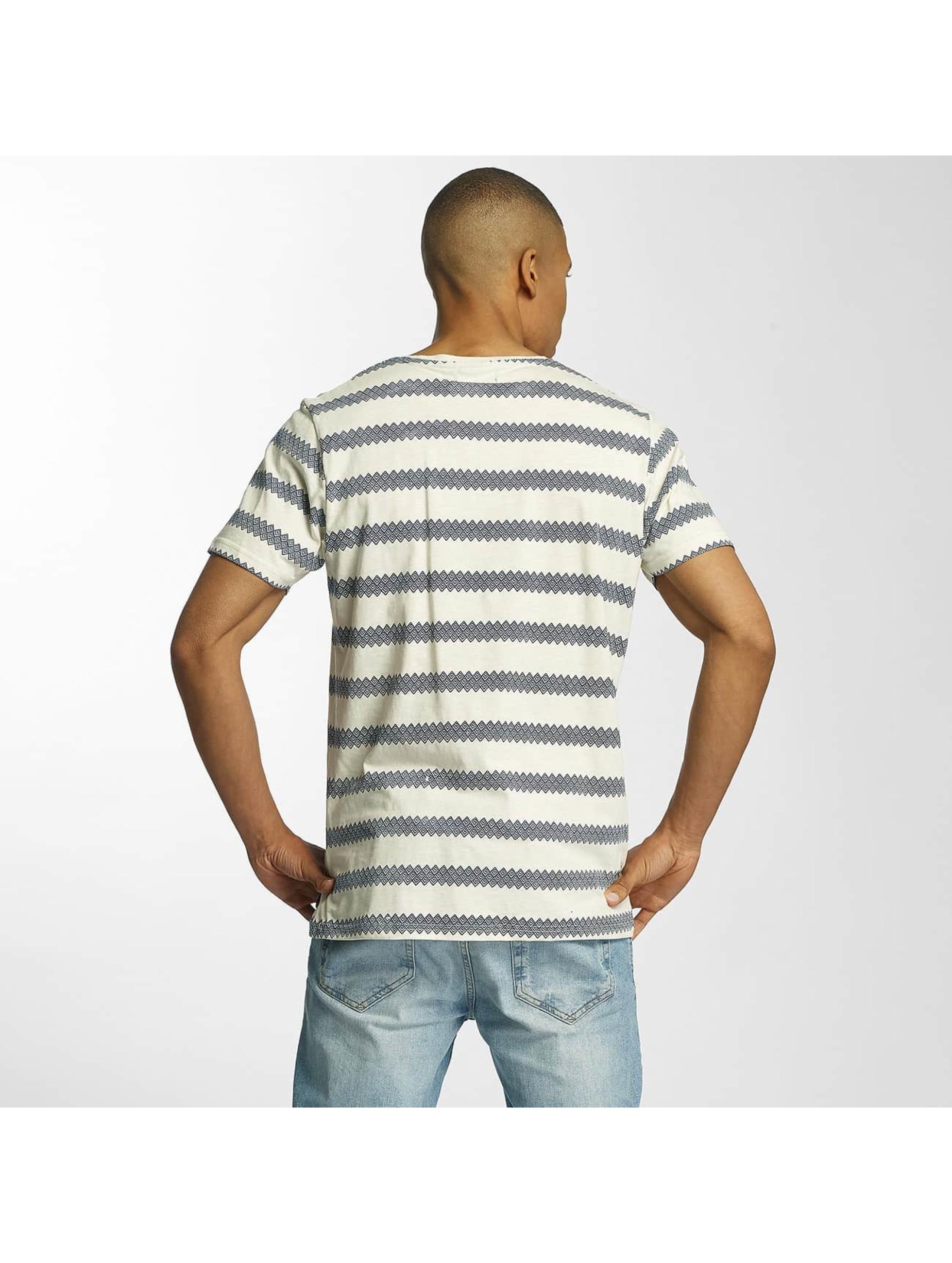 Brave Soul T-Shirty Jacquard Stripe Crew Neck bezowy