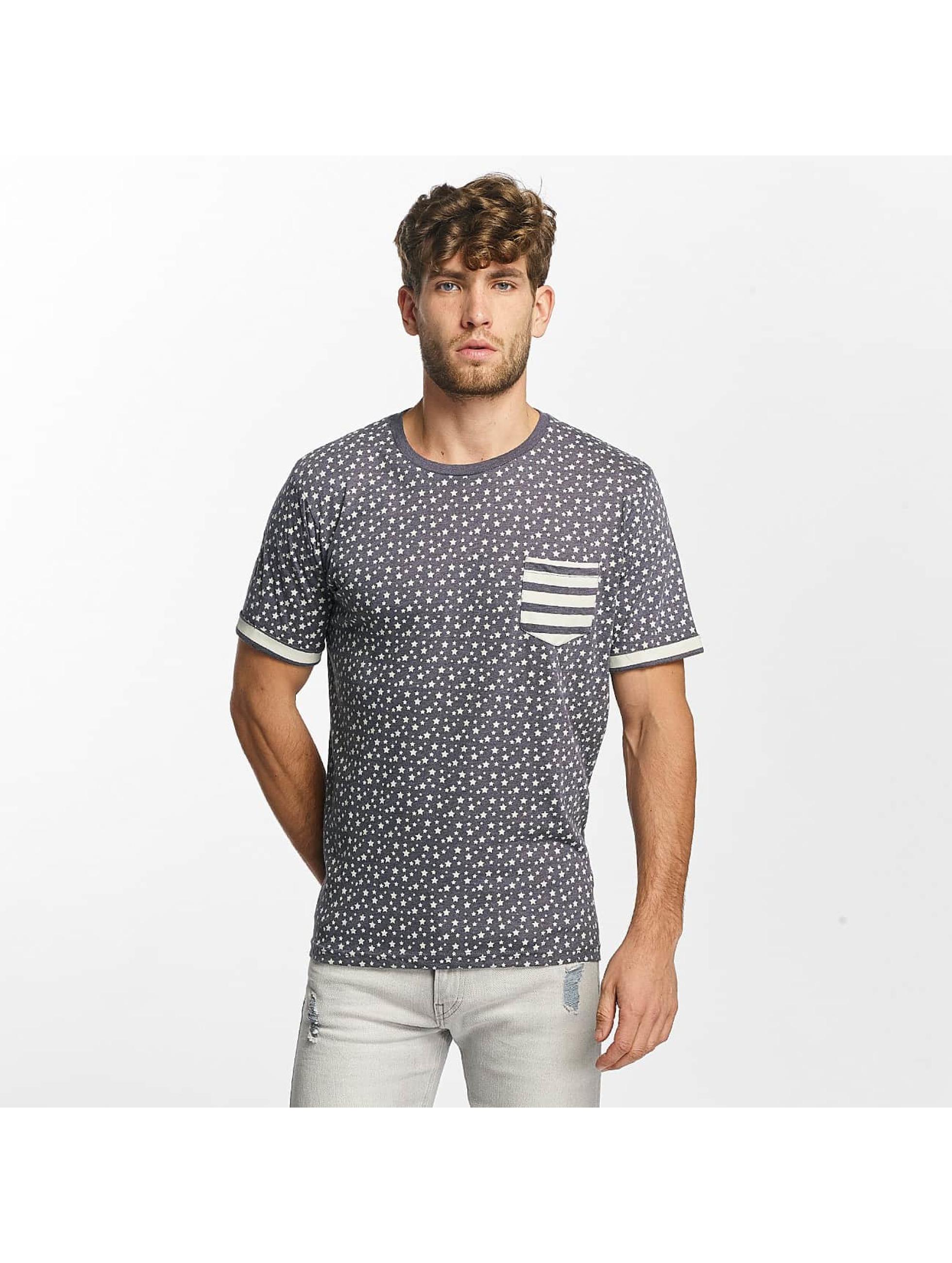 Brave Soul T-Shirty All Over Star Print niebieski