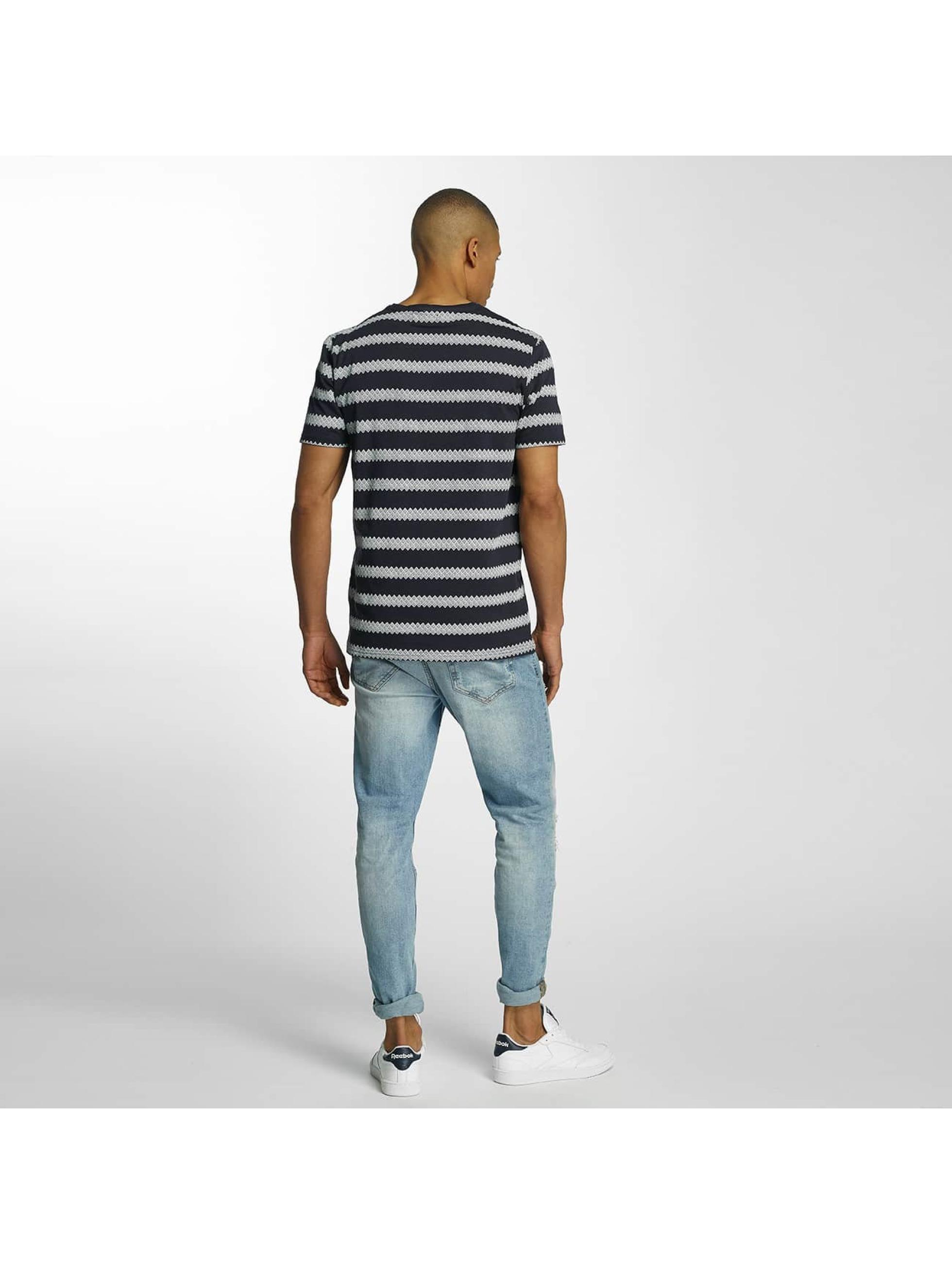 Brave Soul T-Shirty Jacquard Stripe Crew Neck niebieski