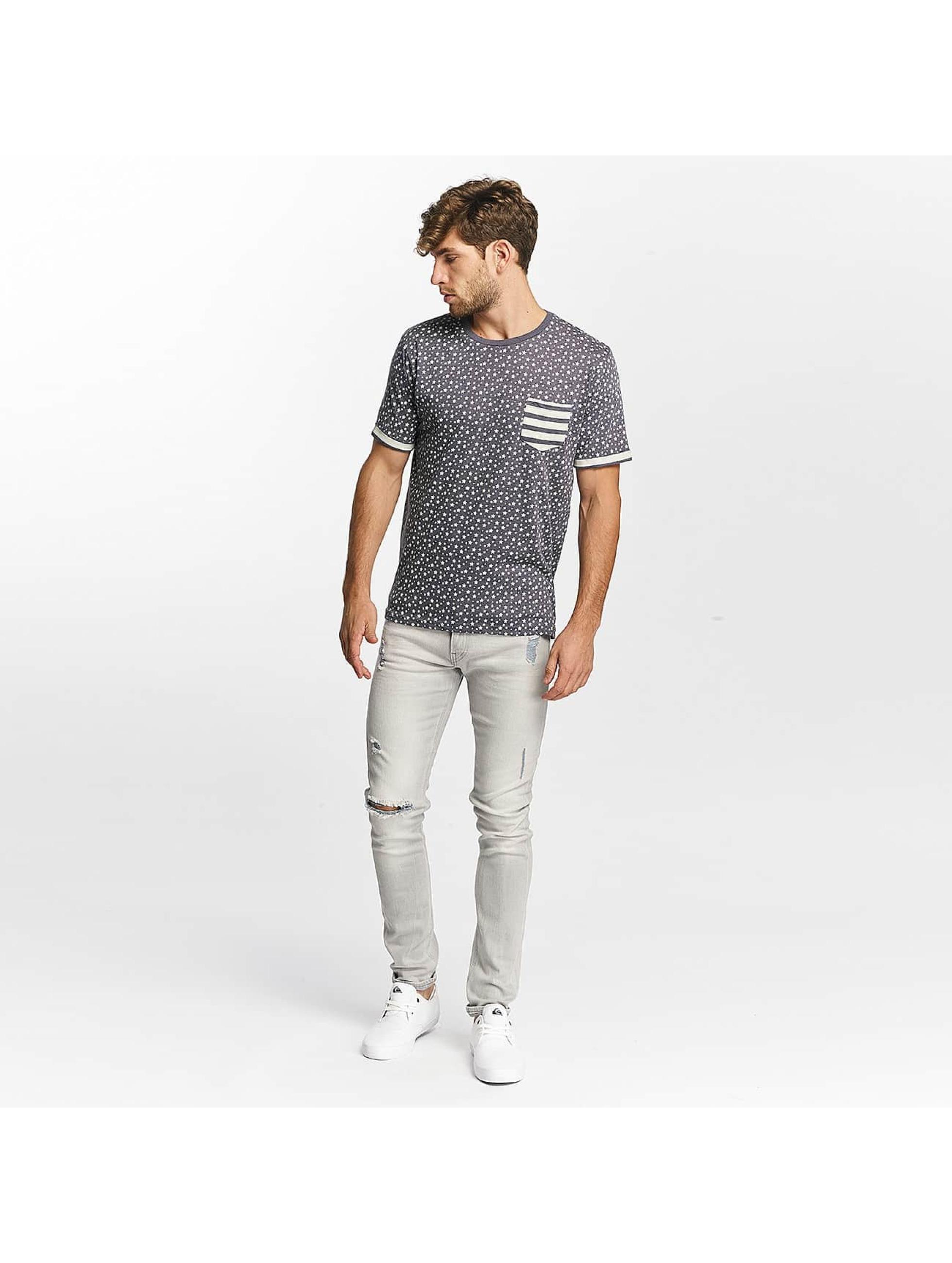 Brave Soul T-skjorter All Over Star Print blå